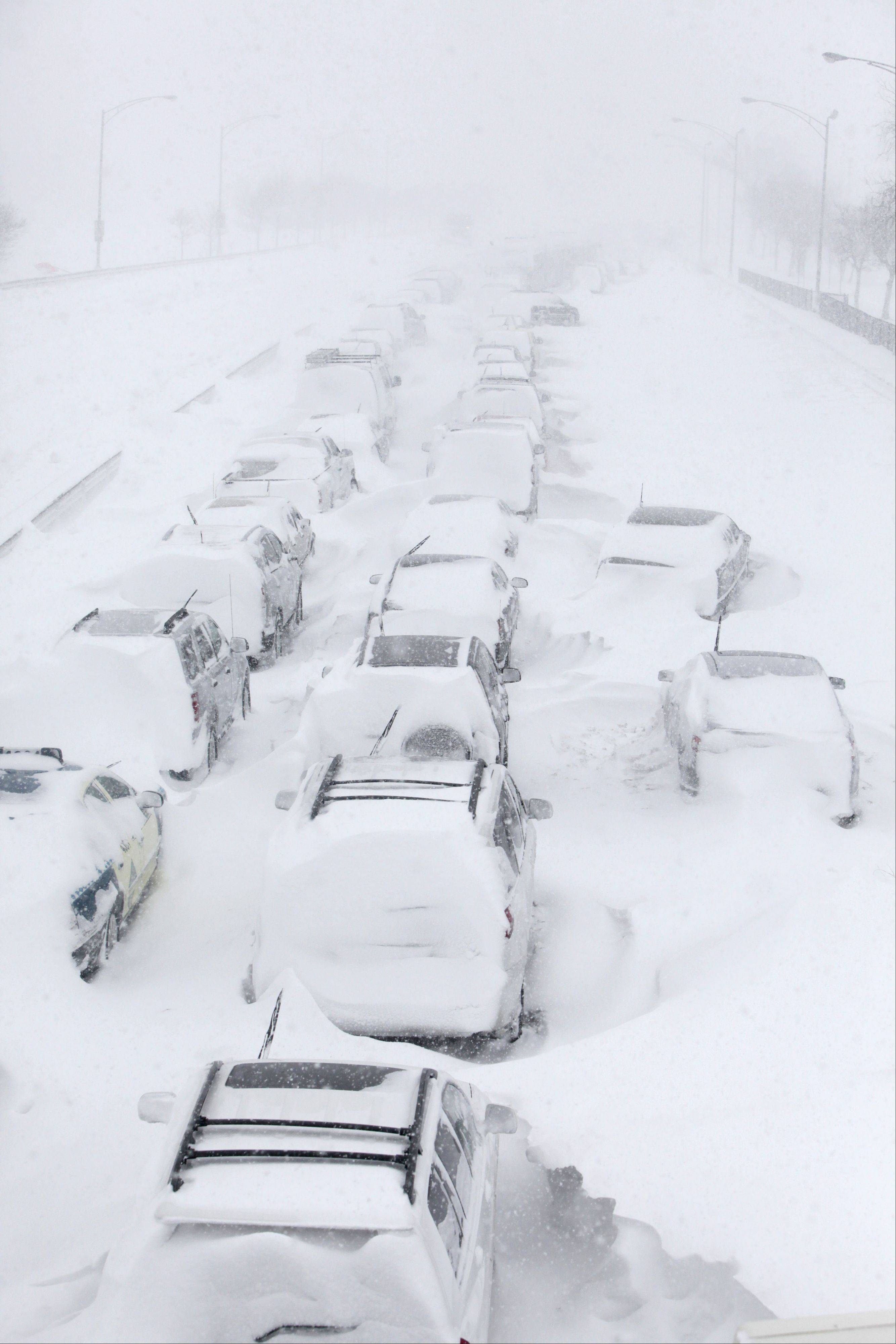 Hundreds of cars were stranded on Lake Shore Drive in Chicago on Feb. 2, 2011.