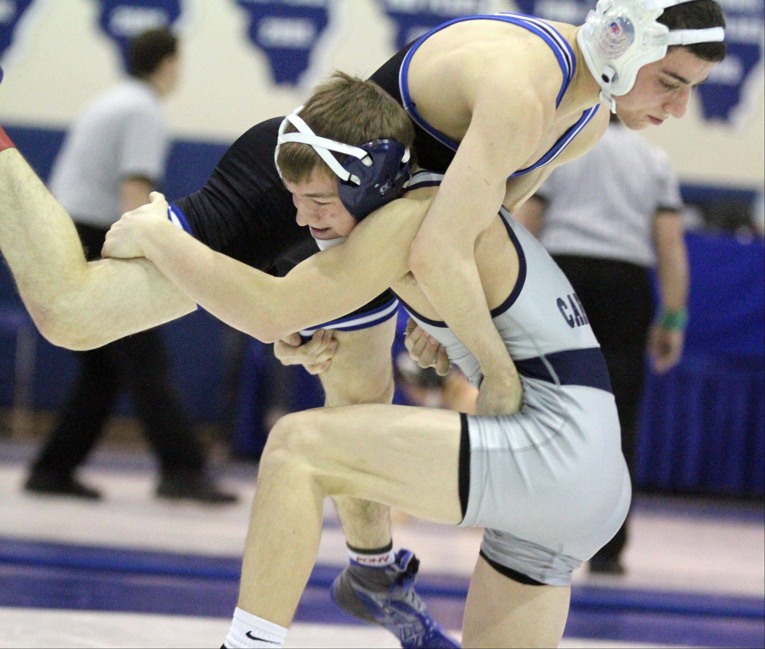 George LeClaire/gleclaire@dailyherald.comCary-Grove's Michael Cullen, bottom, wins his 113-pound championship match against Highland Park's Nate Kessler at the Class 3A individual wrestling regional at Lake Zurich on Saturday, February 2, 2013.