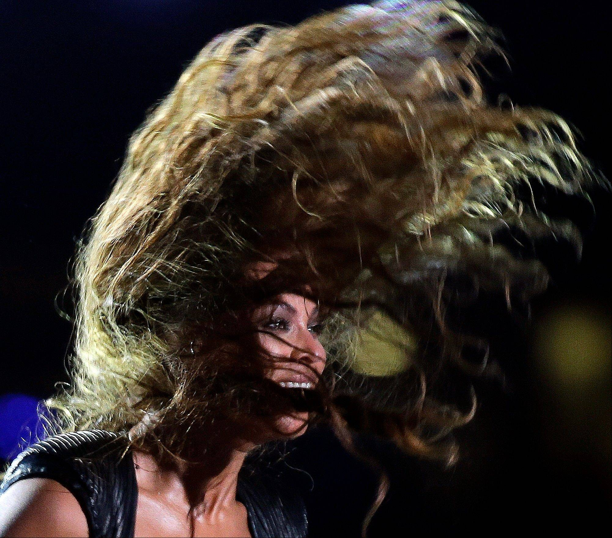 Beyonce performs during the halftime show of the Super Bowl on Sunday in New Orleans.