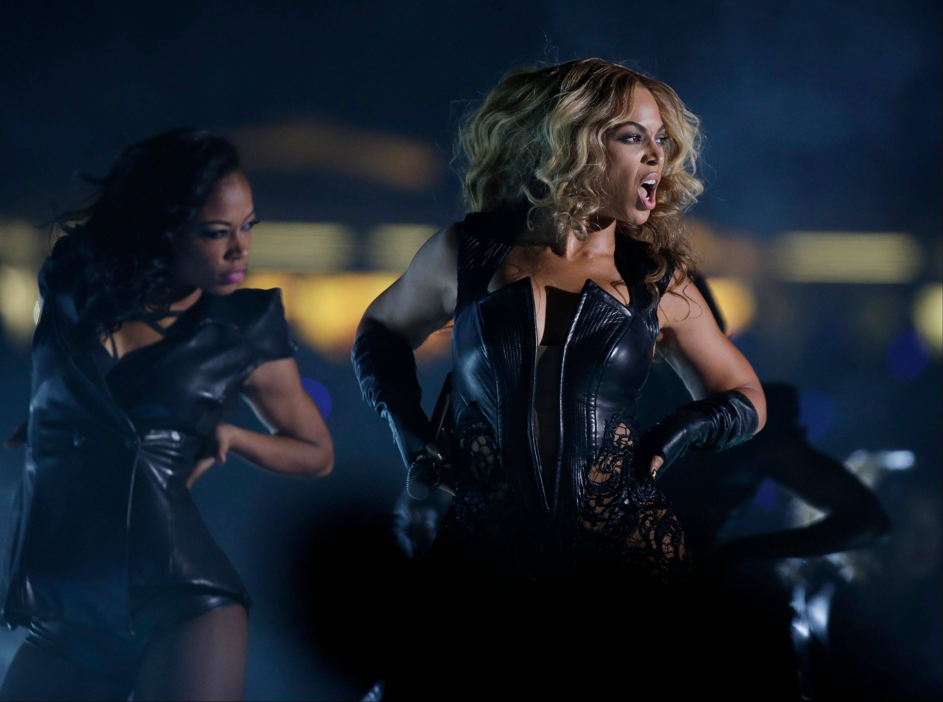 Beyoncé performs during the halftime show of Super Bowl XLVII between the San Francisco 49ers and the Baltimore Ravens on Sunday in New Orleans.