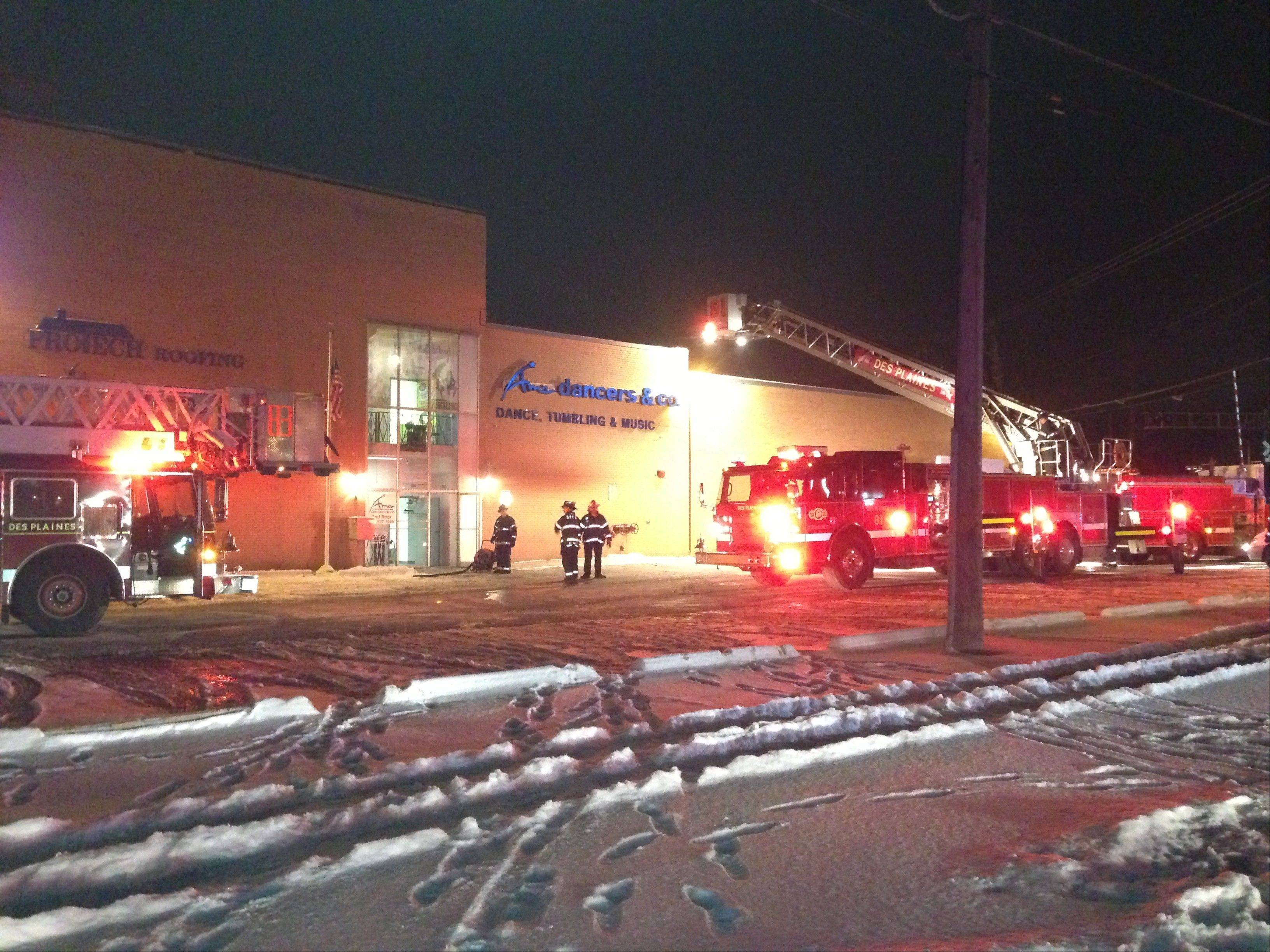 Des Plaines firefighters responded to a blaze just after midnight Sunday in a commercial building in the 200 block of Graceland Avenue. Officials said the fire caused $25,000 in damages, but it could have been much worse if the building hadn�t been equipped with sprinklers.