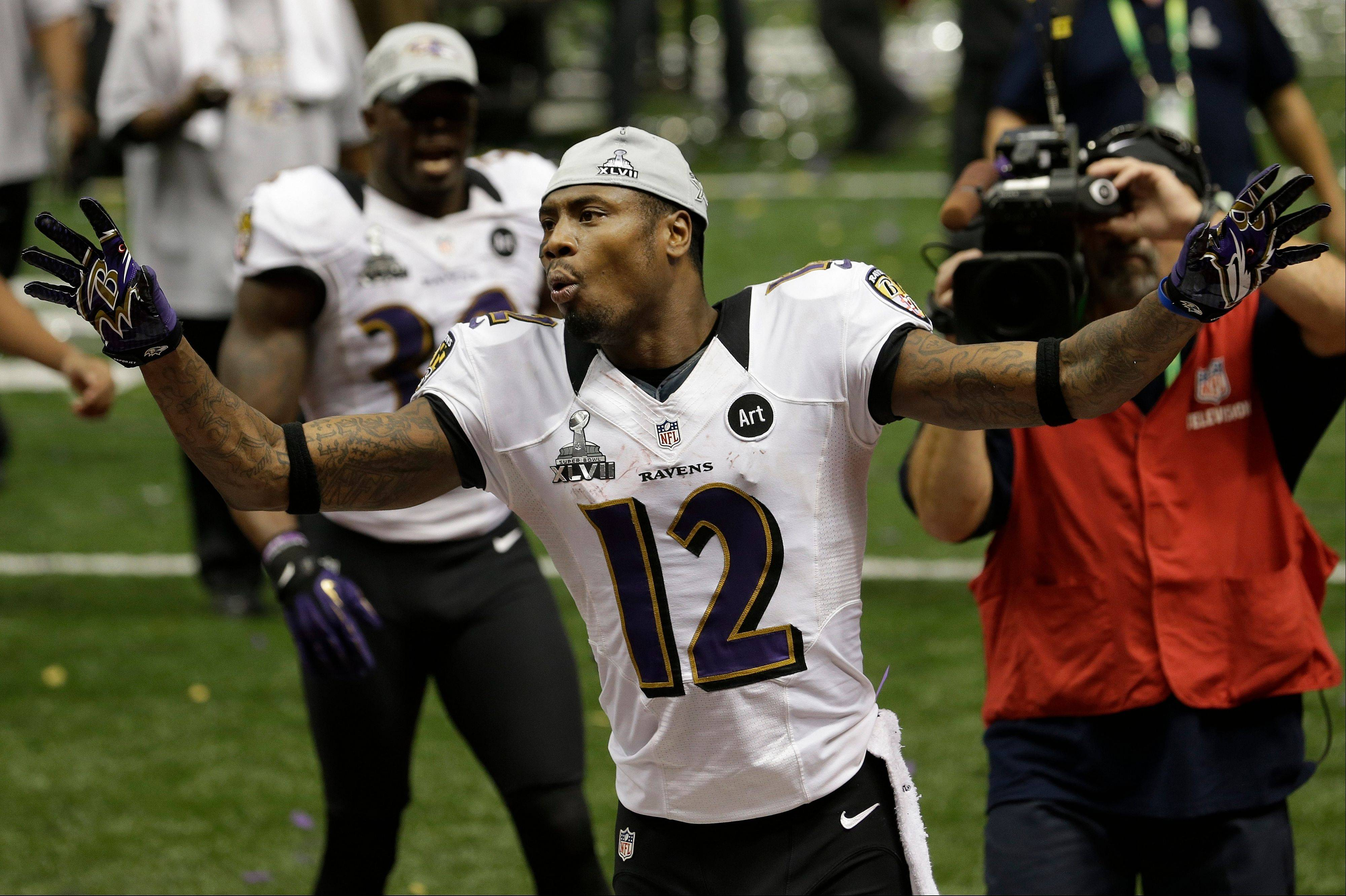 Baltimore Ravens wide receiver and return man Jacoby Jones celebrates after defeating the San Francisco 49ers 34-31 in Super Bowl XLVII Sunday in New Orleans.