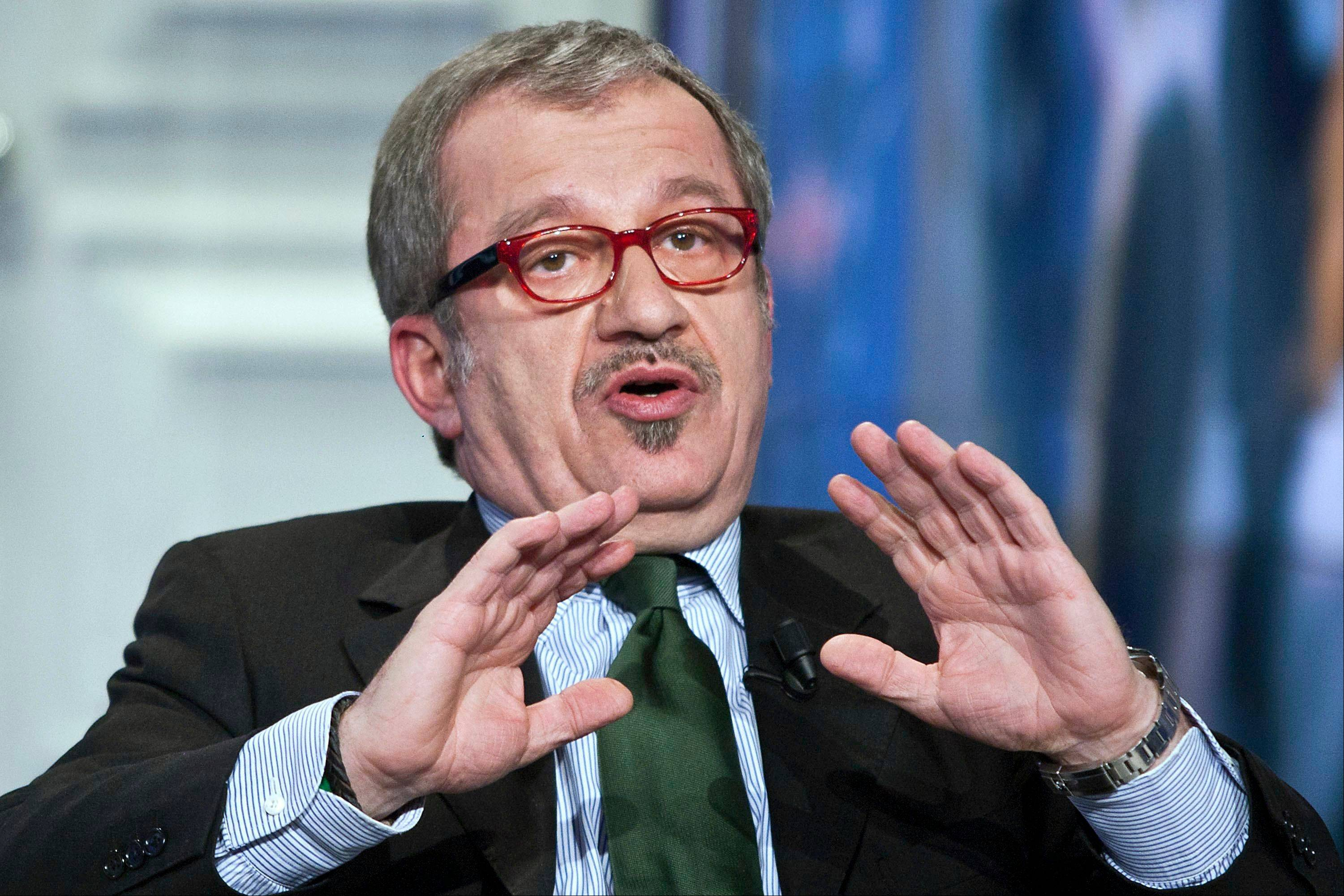 Northern League party leader Roberto Maroni attends a TV show in Rome.