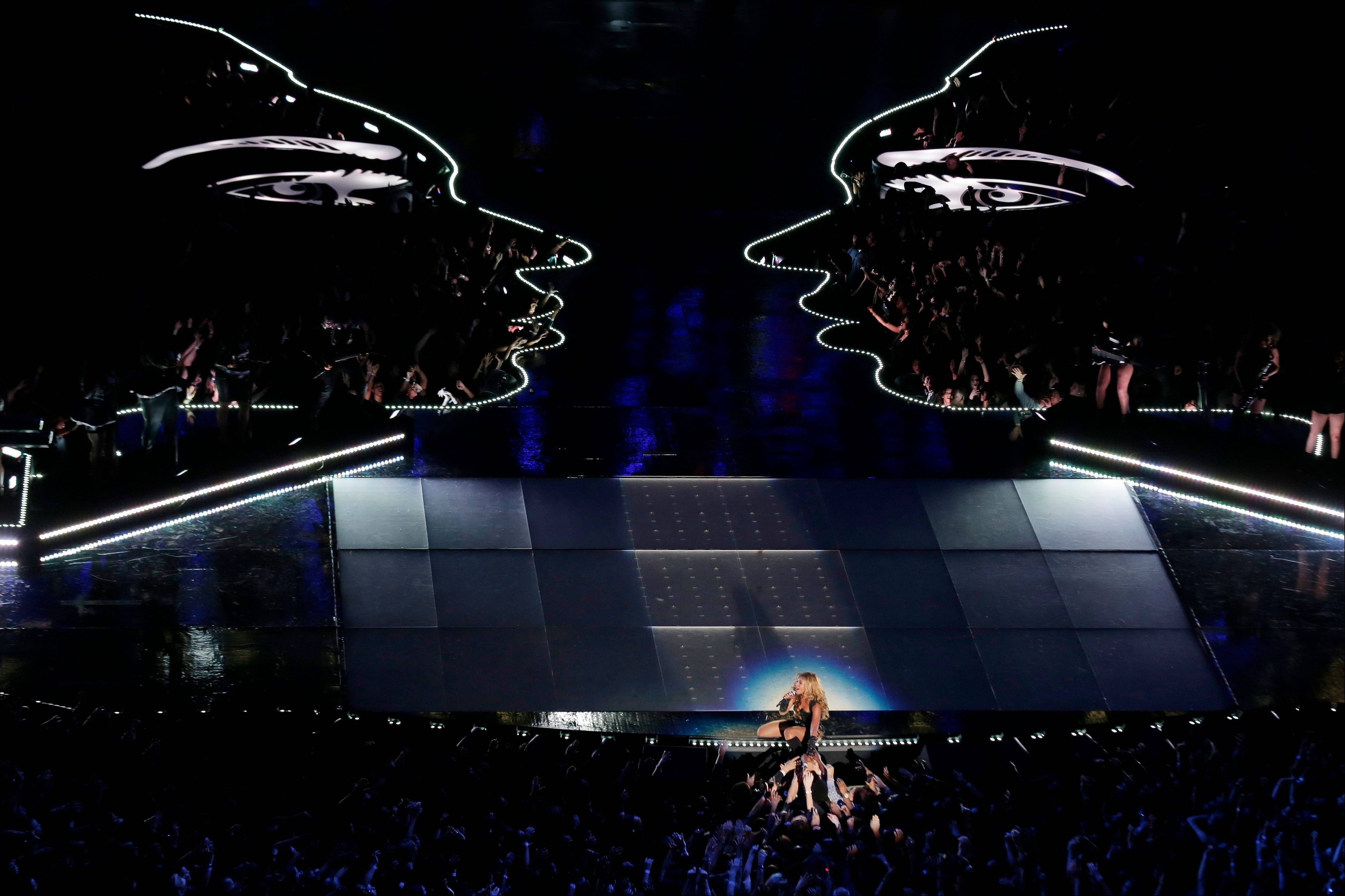 Beyonce's set featured lighted profiles during the Super Bowl halftime show.