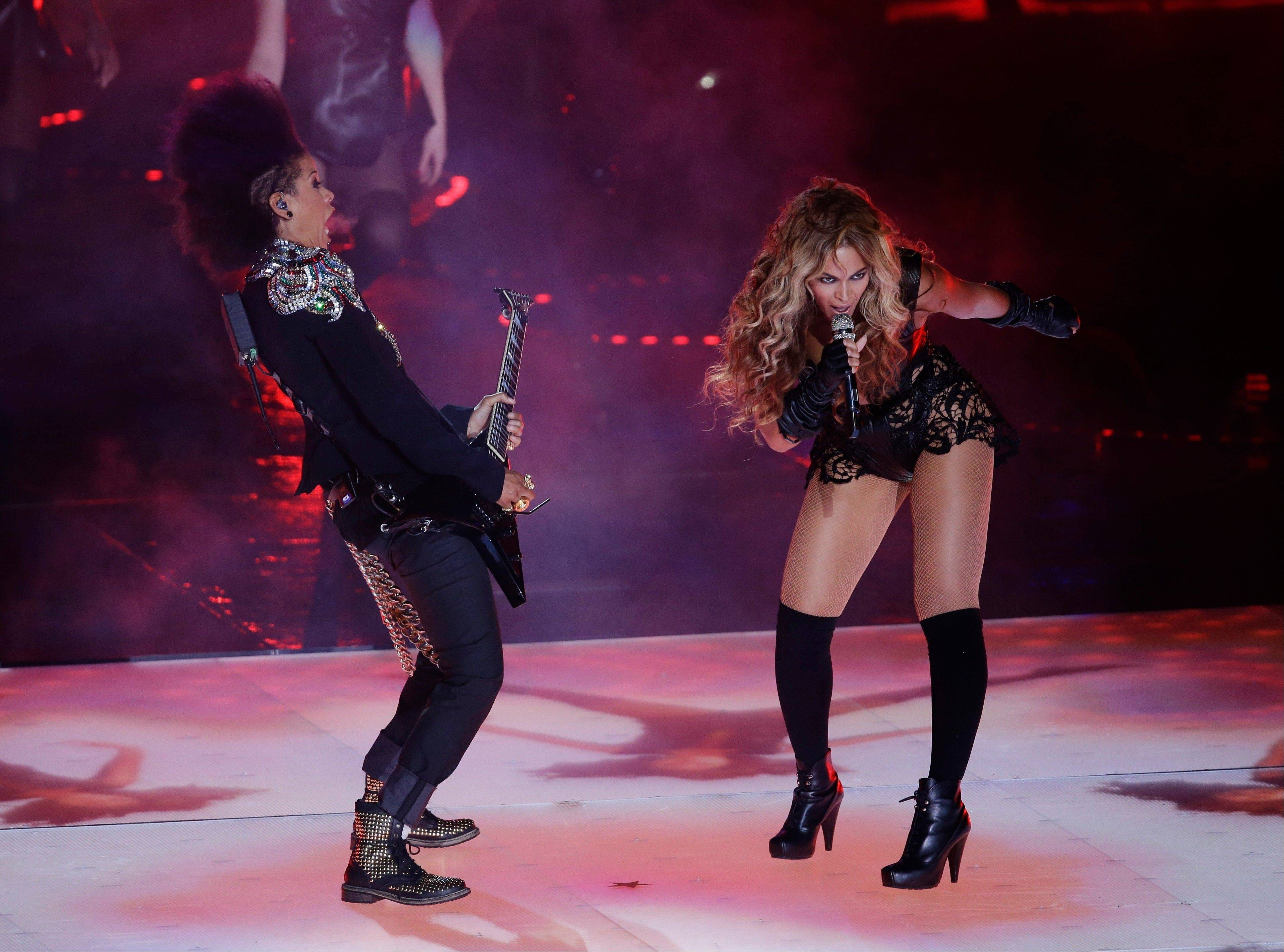Beyonce performed a 12-minute show at halftime of Super Bowl XLVII.