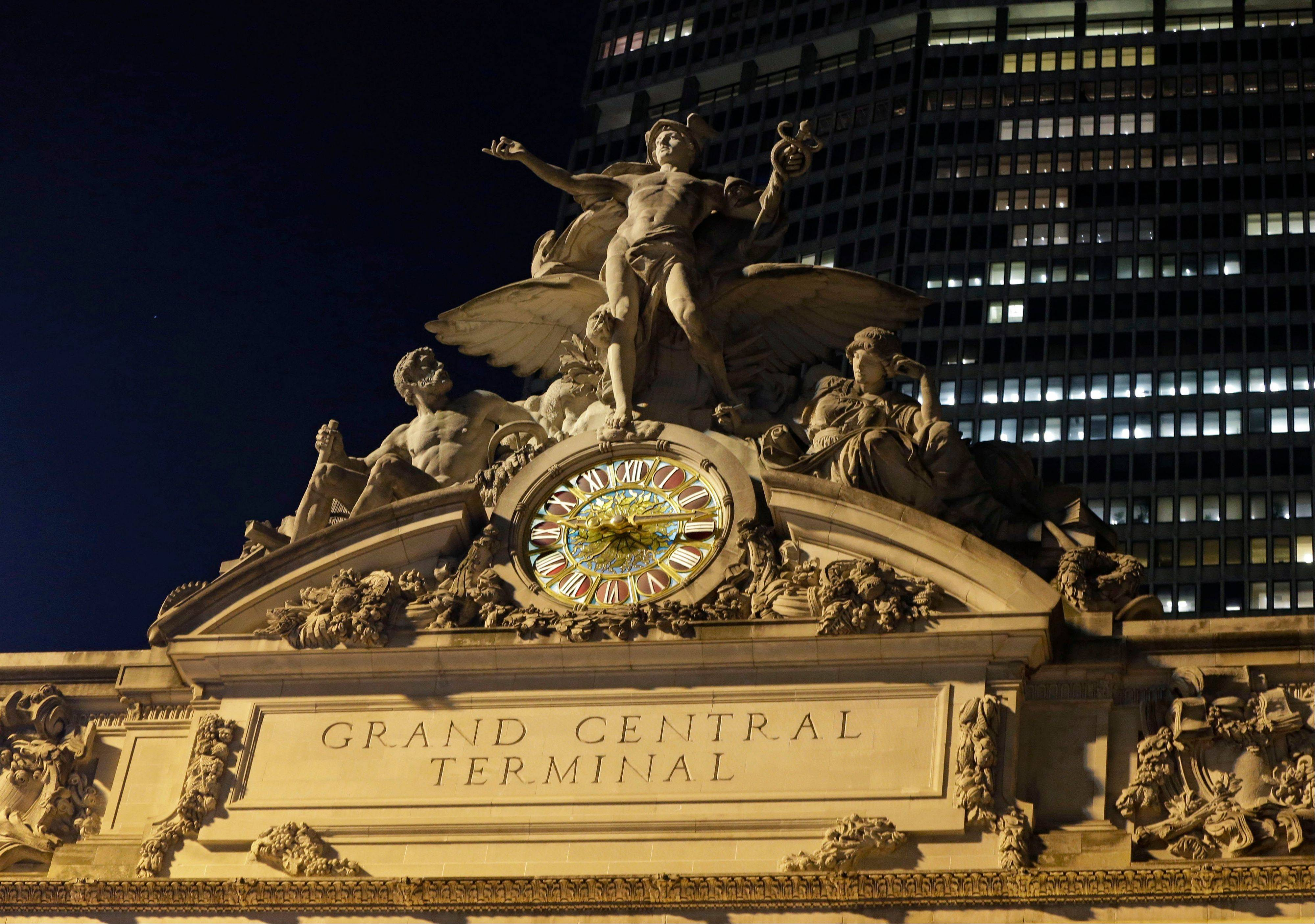 The mythological figures Hercules, Mercury and Minerva adorn the main facade of Grand Central Terminal, part of a sculptural group created by Jules Alexis, atop the terminal in New York.