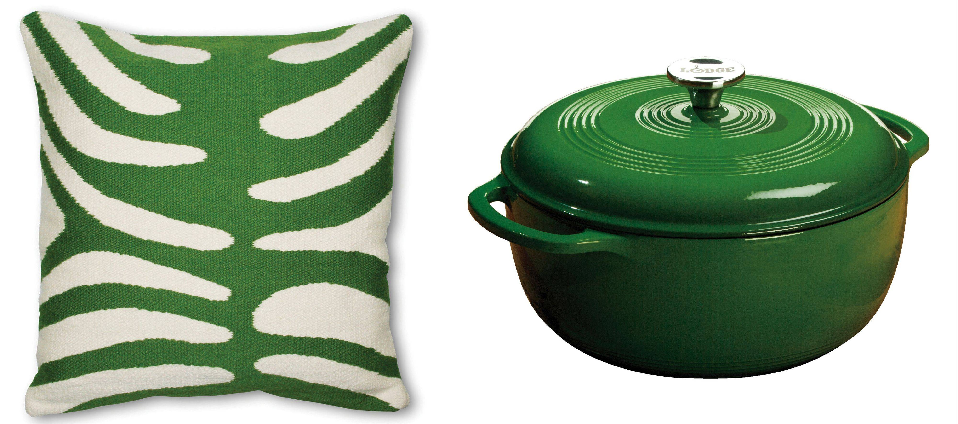 Throw pillows allow homeowners to switch out trends with the season, left; in a neutral room, a bold Dutch oven can declare a kitchen in tune with the trends.