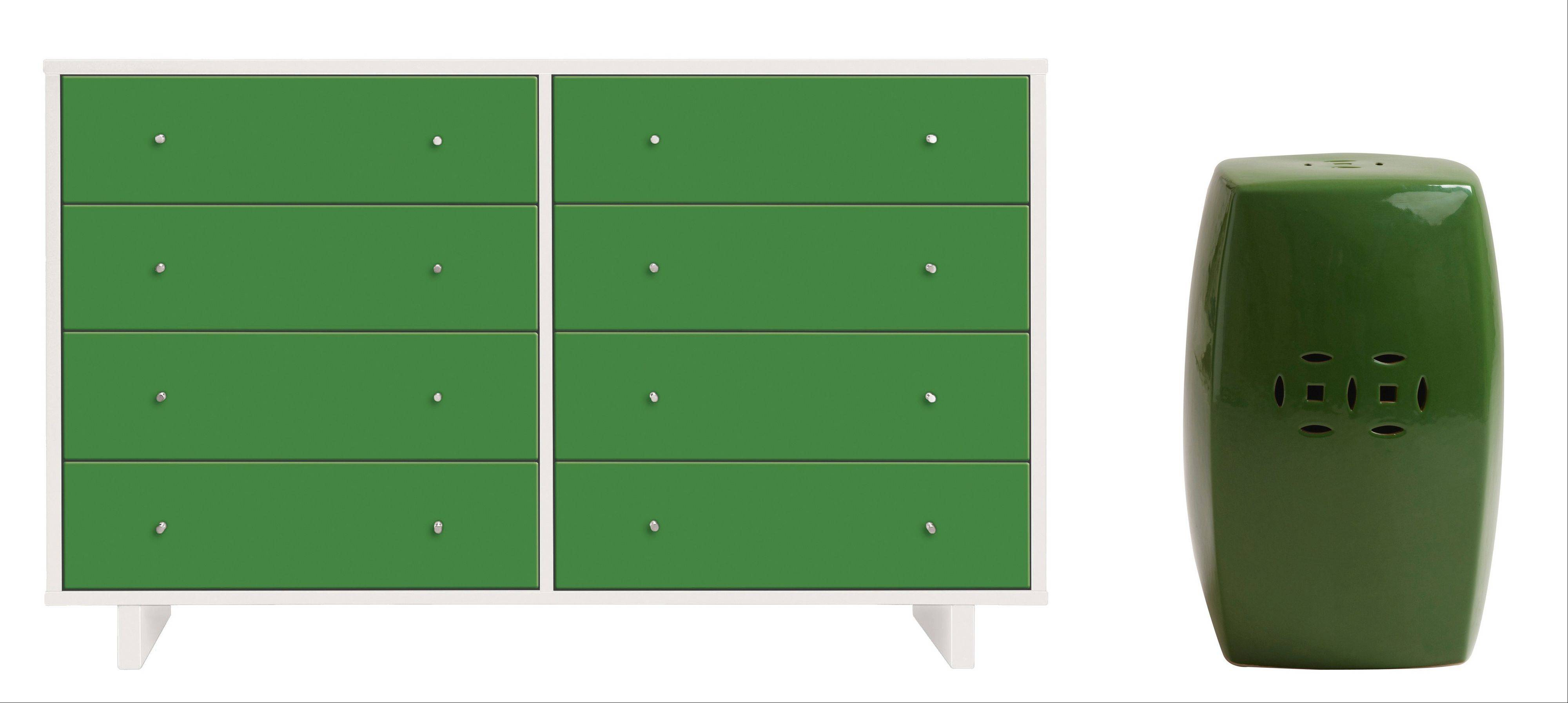 An eight-drawer green dresser could bring order to a kid's room, left; an emerald ceramic stool can be paired with other shades of green.