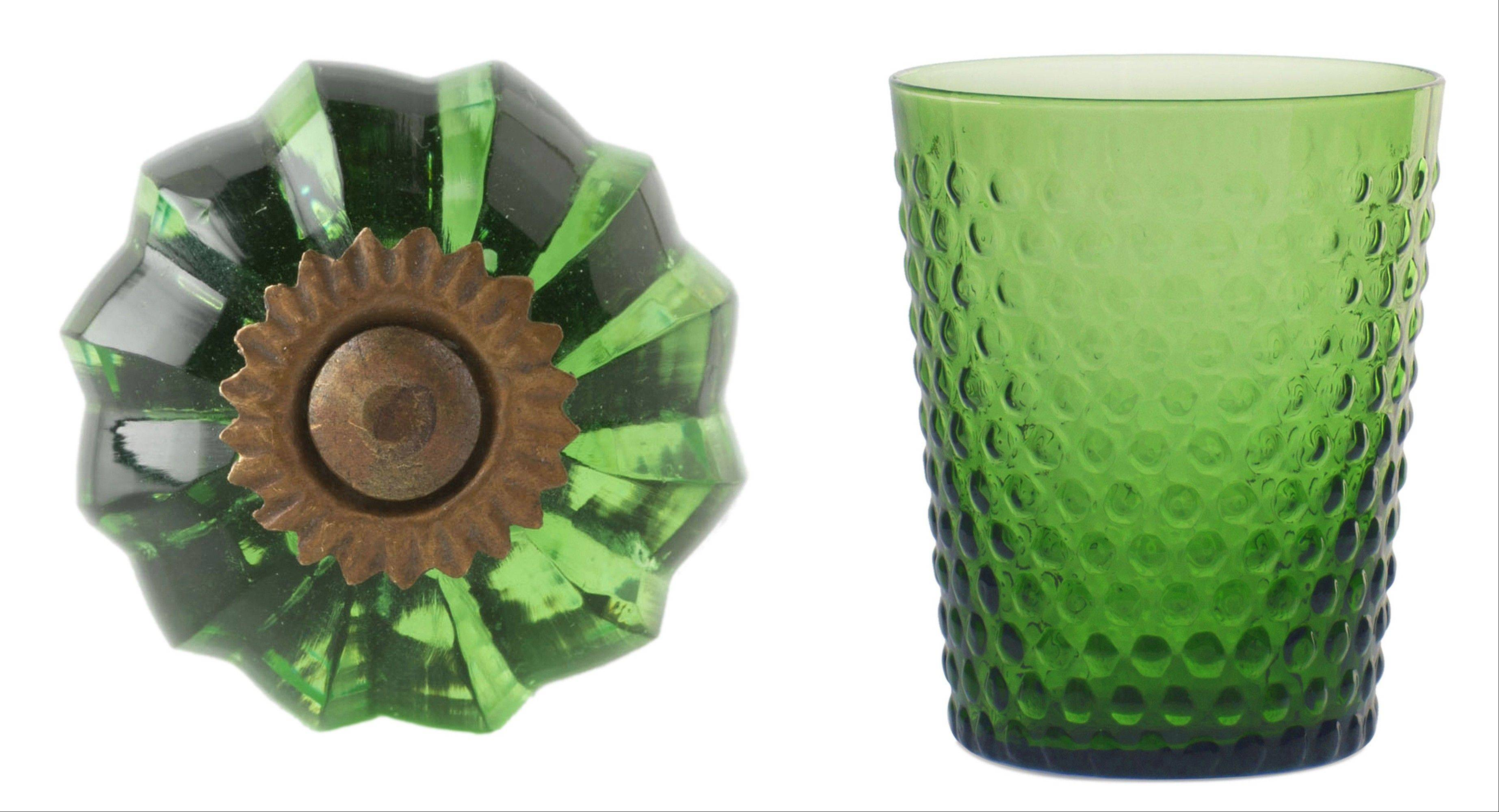 For a subtle touch, try glass dresser knobs in green (left); dishware, like this emerald tumbler, right, has always been a way to capture trends.