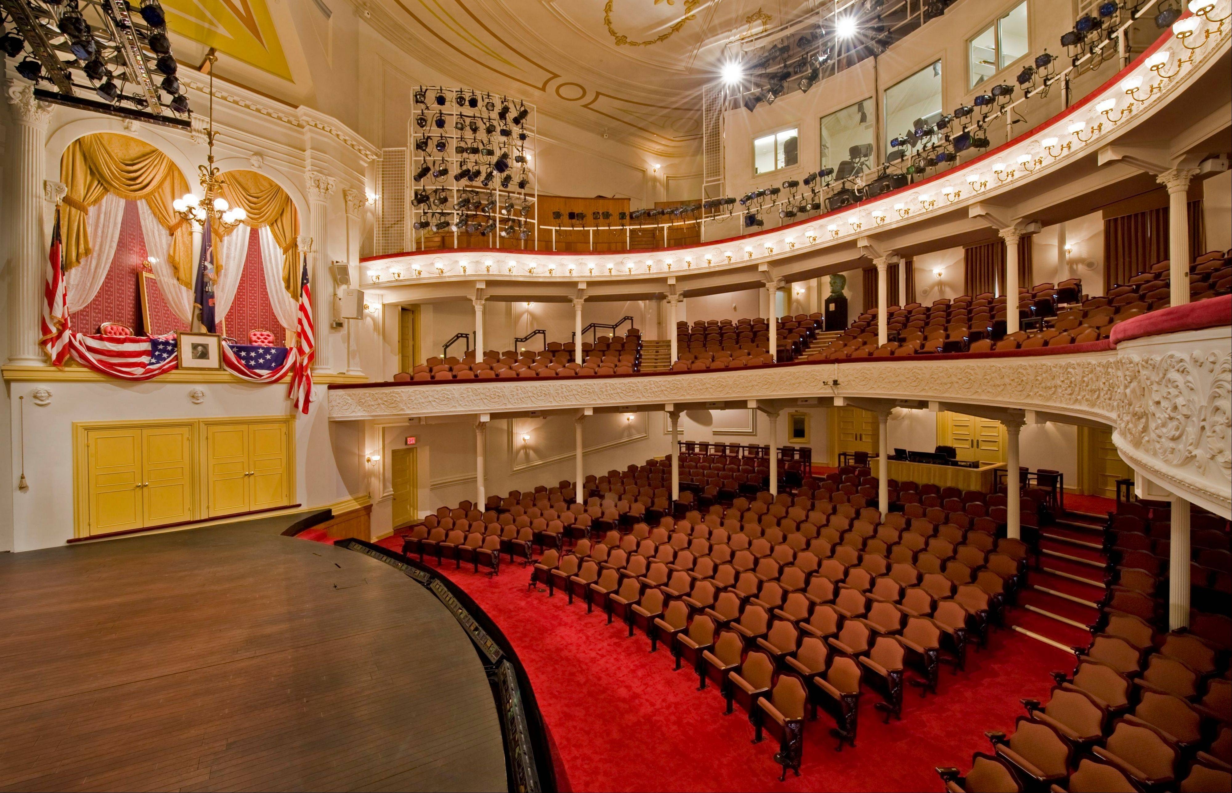 The interior of Ford's Theatre, where President Lincoln was shot while attending a play in 1865, was re-created in the 1960s to look the way it did when Lincoln was shot.