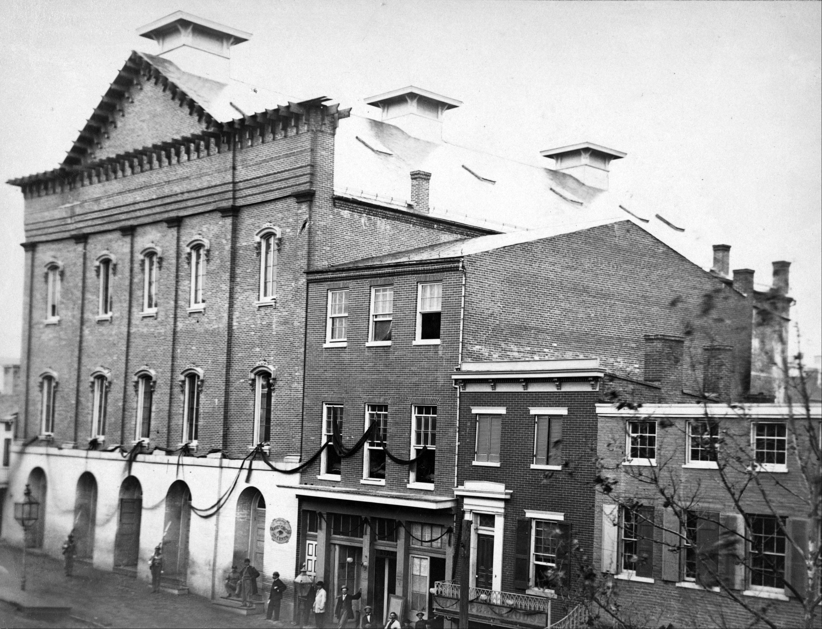 Ford's Theatre, at left, was the scene of the assassination of President Abraham Lincoln in Washington, D.C., in 1865.