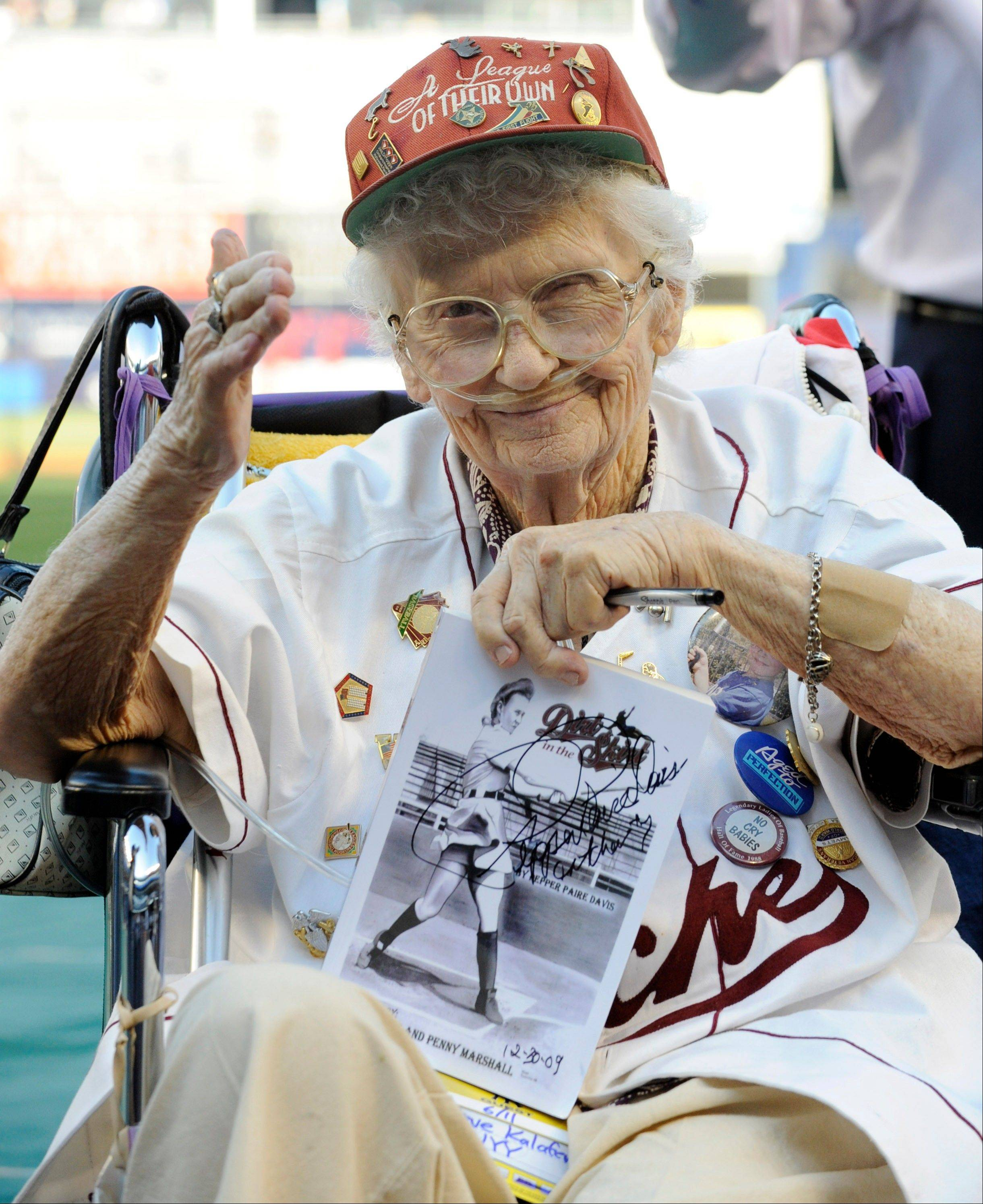 "Lavonne ""Pepper"" Paire-Davis, seen here in a file photo taken in 2010, was a star of the All American Girls Professional Baseball League in the 1940s and an inspiration for the movie ""A League of Their Own."" She died Saturday in Southern California. She was 88."