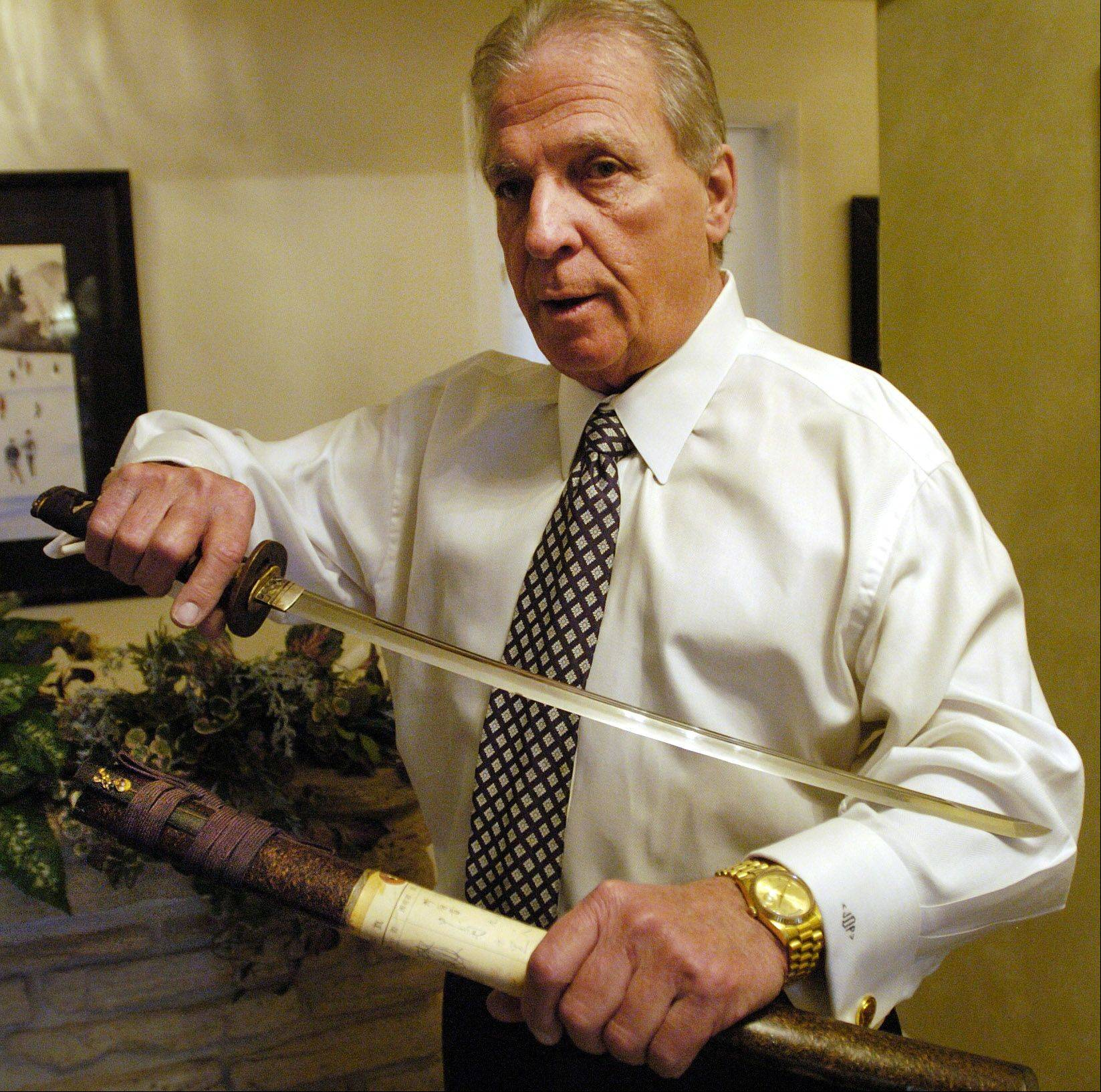Collecting mostly World War II souvenirs, Jim Dryden of Hawthorn Woods makes room for this 500-year-old wakizashi, a Japanese samurai sword.