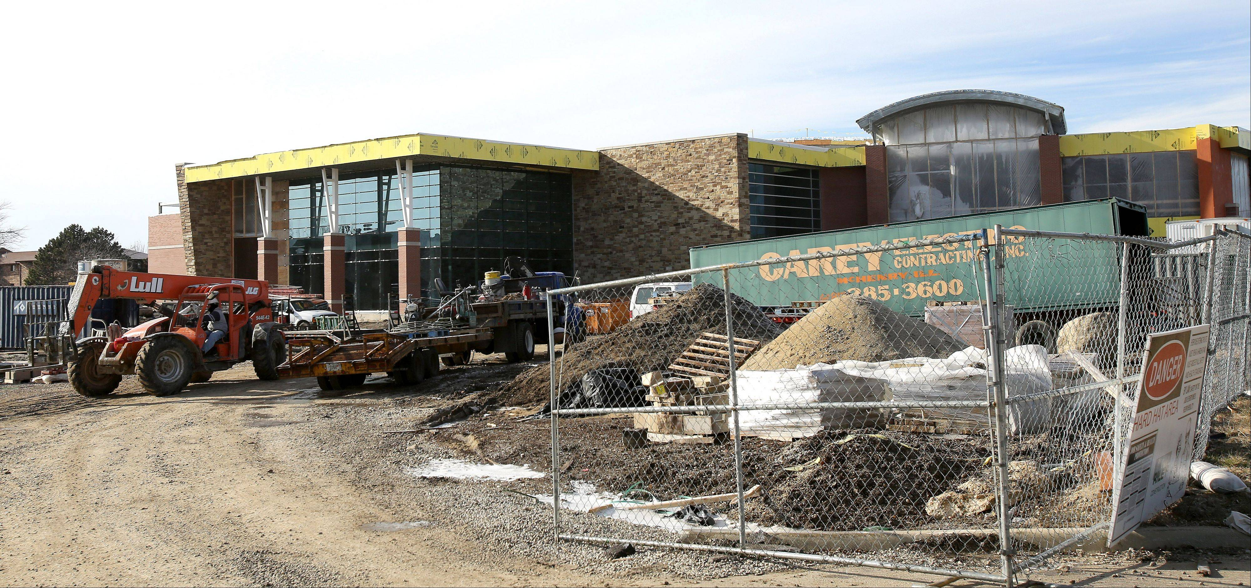 The Carol Stream Park District's Fountain View Recreation Center at Russ Ferraro Town Center is taking shape with expected completion this summer.