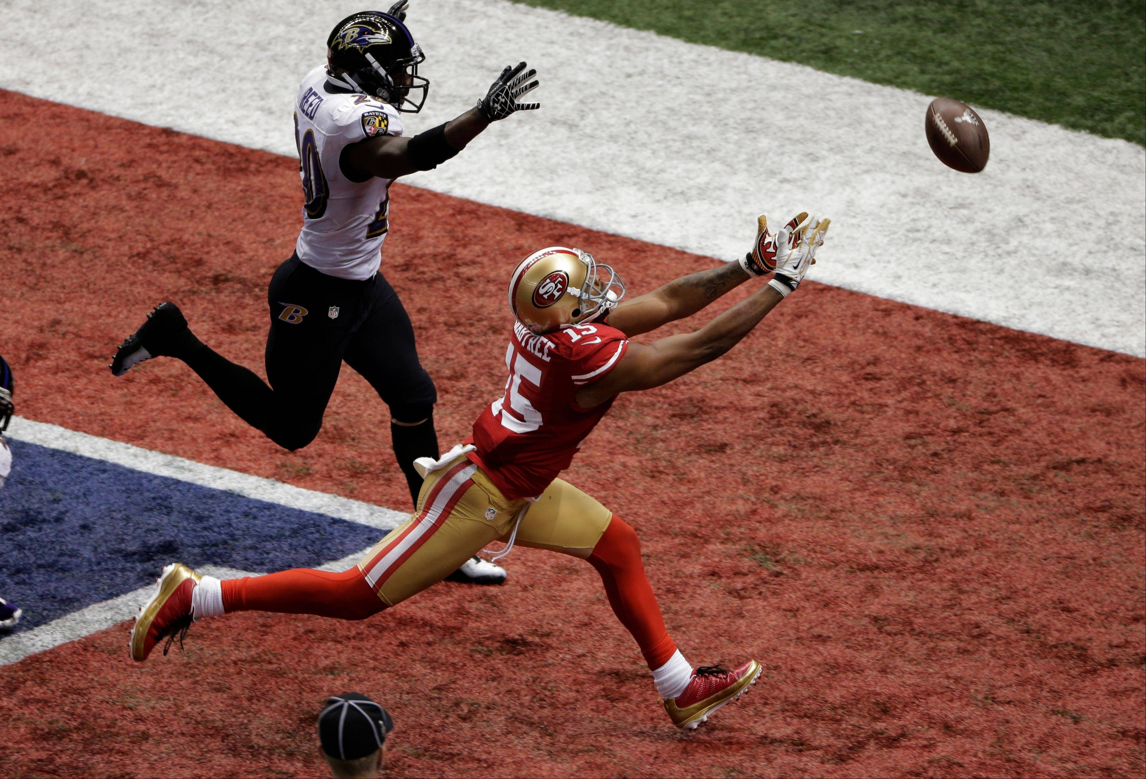 A pass falls just out of reach of 49ers wide receiver Michael Crabtree on fourth-and-goal late in Super Bowl XLVII.