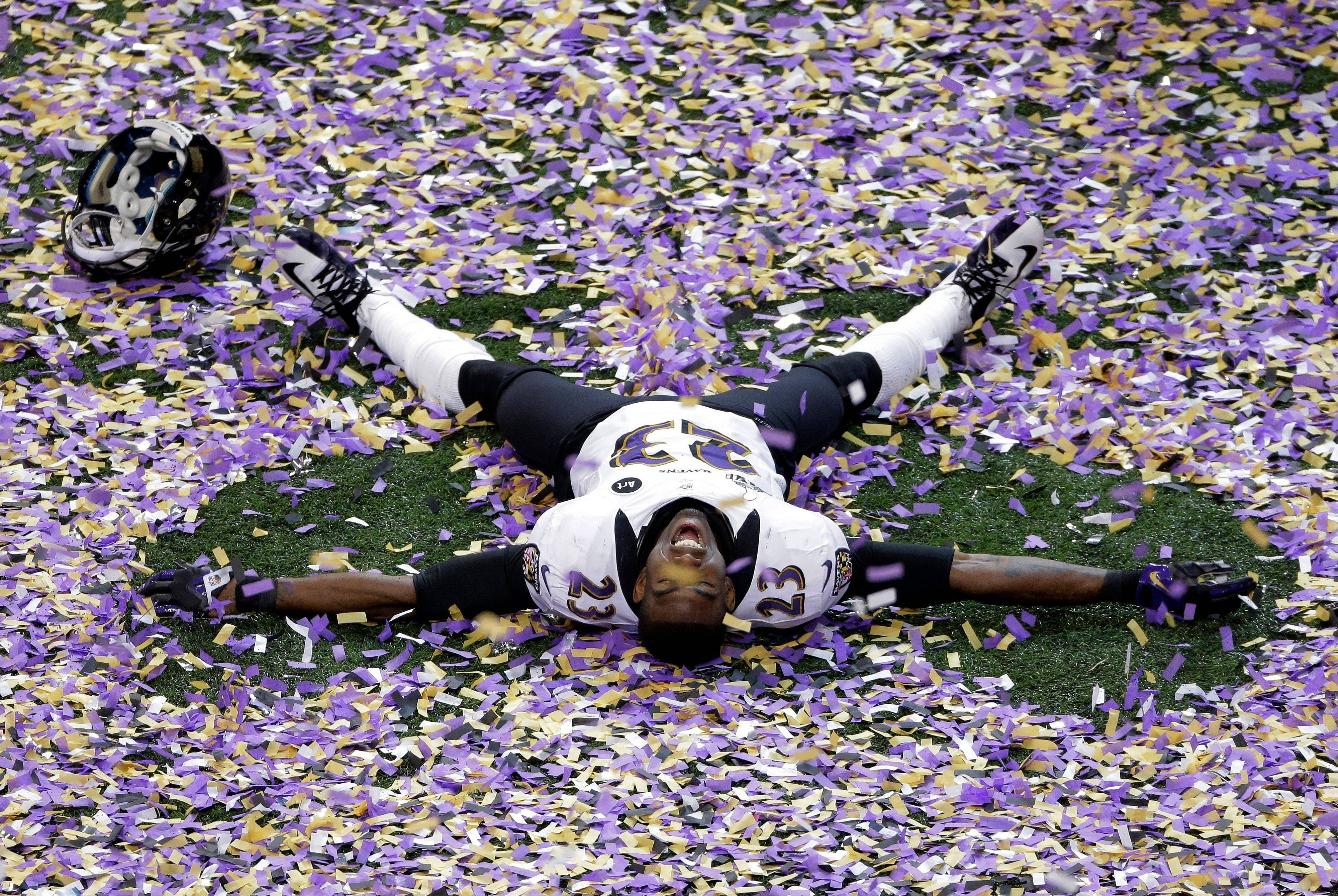 Ravens defensive back Chykie Brown celebrates after Super Bowl XLVII on Sunday in New Orleans. The Ravens won 34-31.