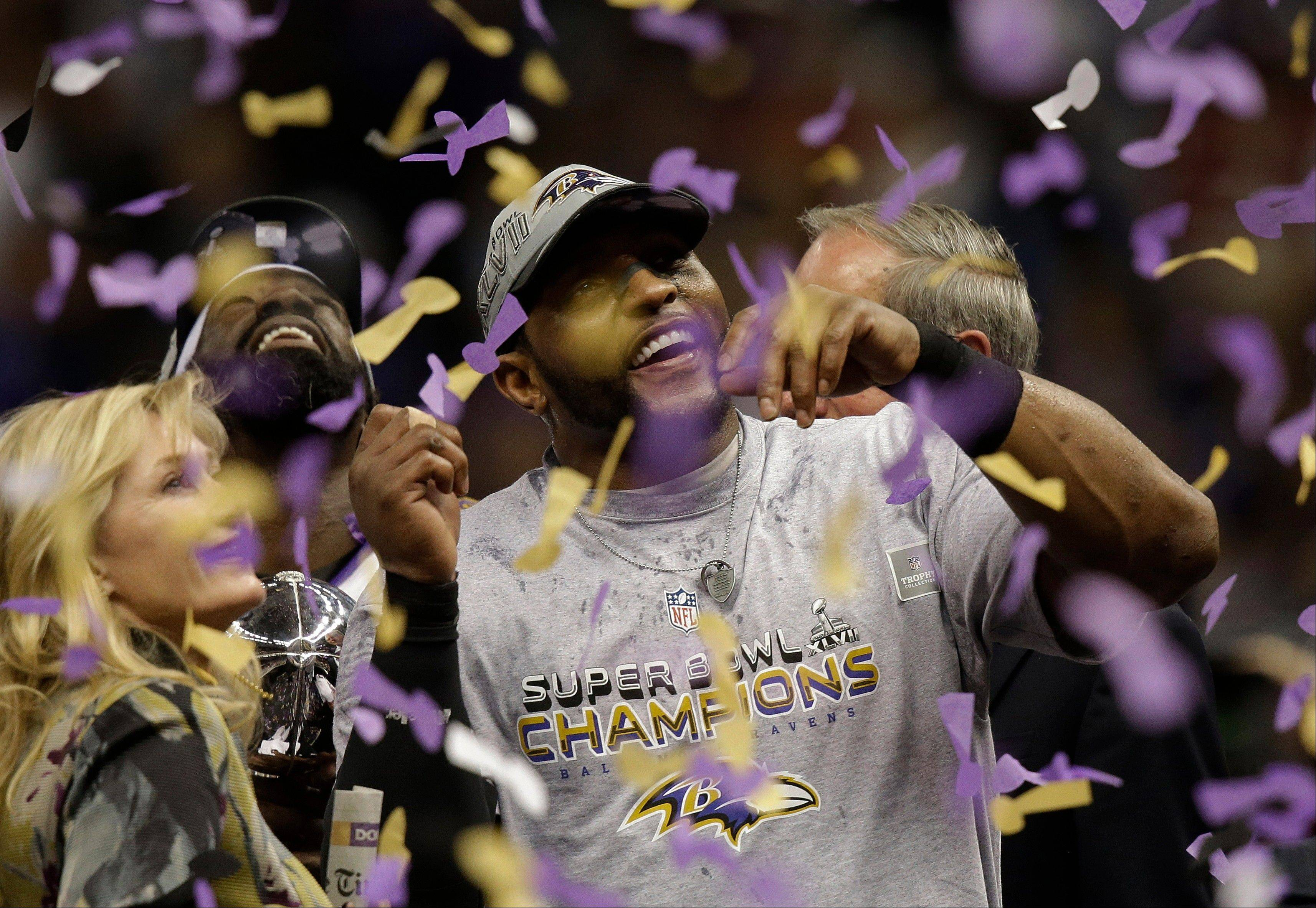 Baltimore Ravens linebacker Ray Lewis celebrates after defeating the San Francisco 49ers 34-31 in the NFL Super Bowl XLVII football game.
