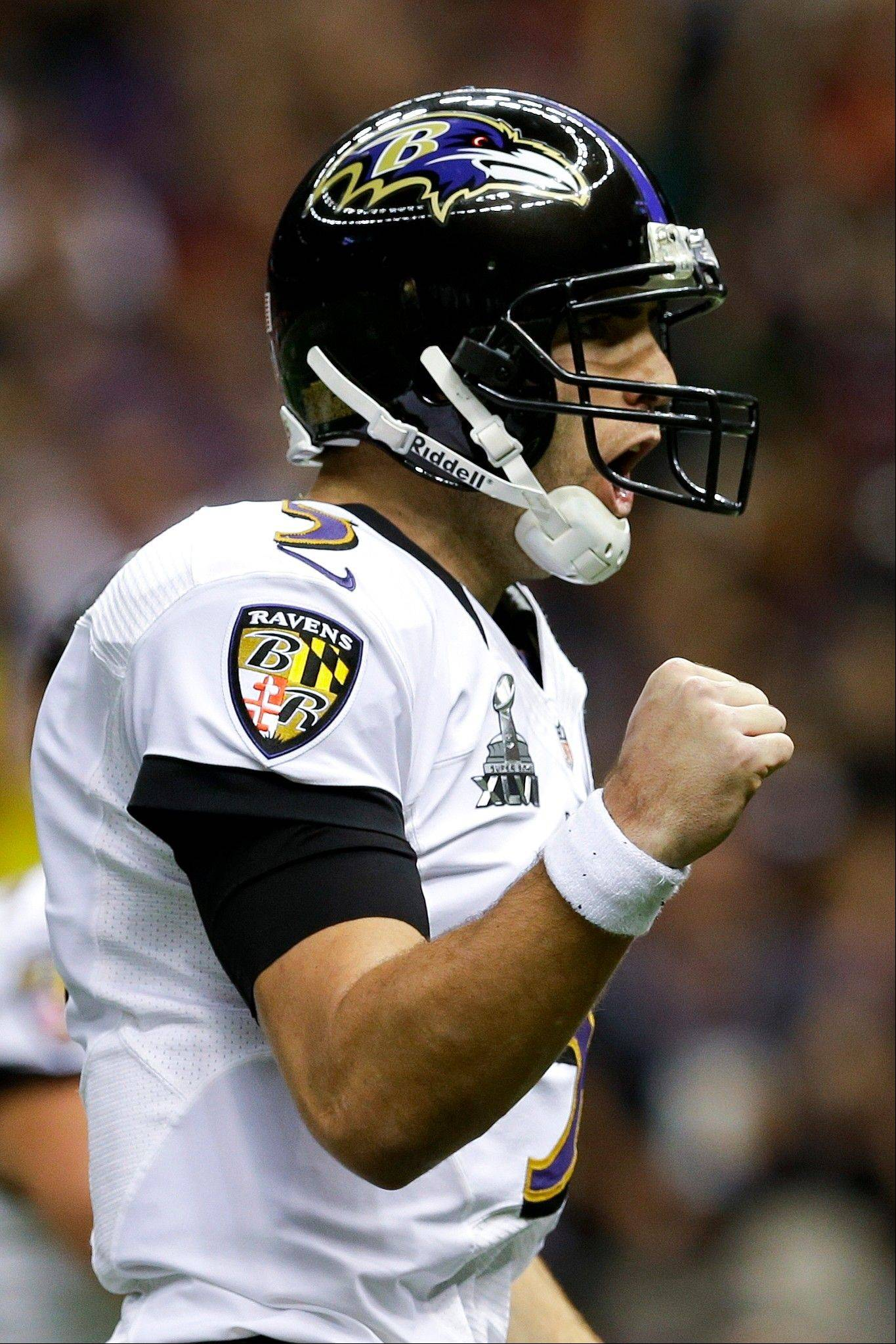 Baltimore Ravens quarterback Joe Flacco reacts after their touchdown against the San Francisco 49ers during the first half.
