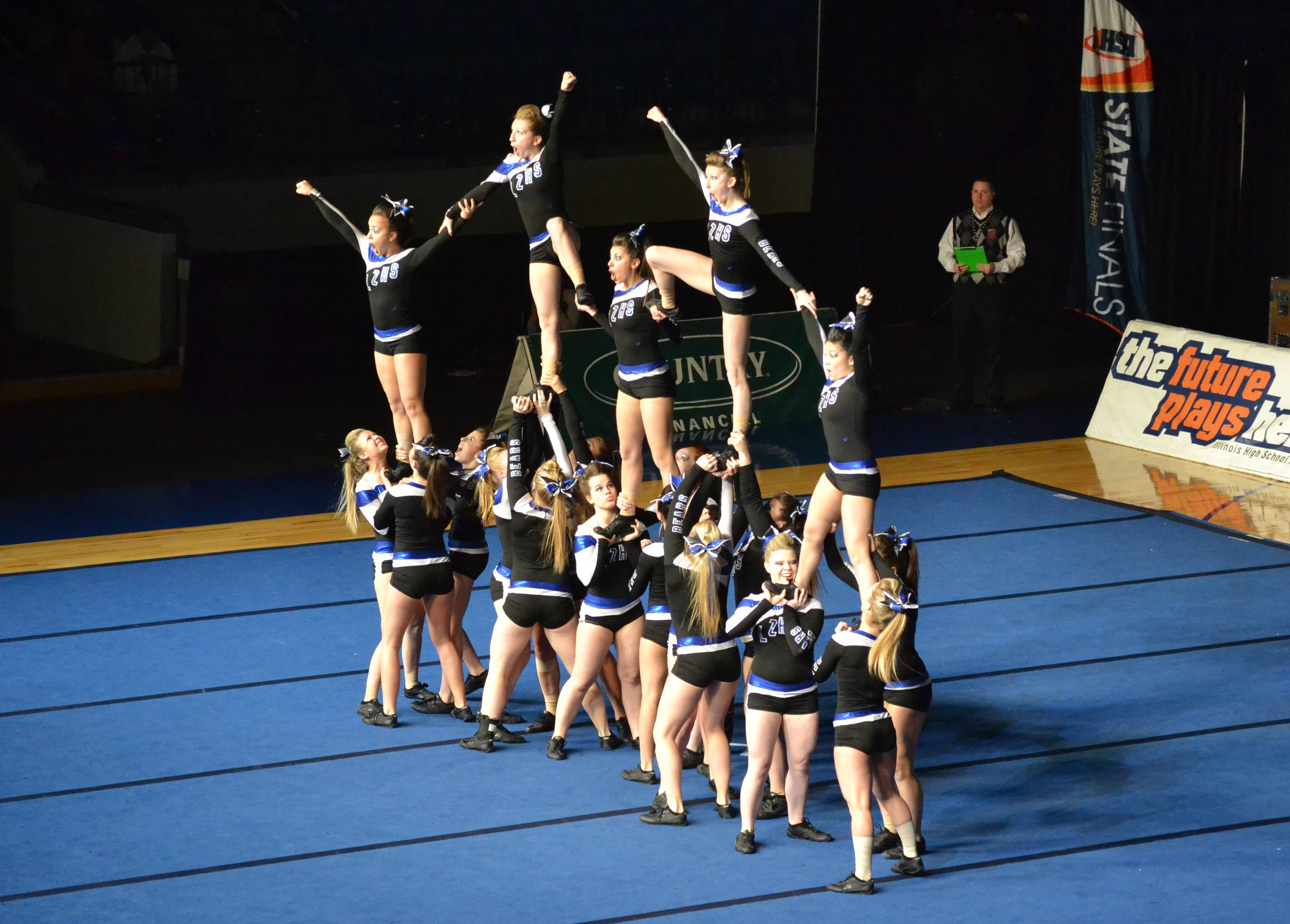 The LZHS Varsity Cheerleading Squad perform at the IHSA State Finals in Bloomington IL, on February 2, 2013.