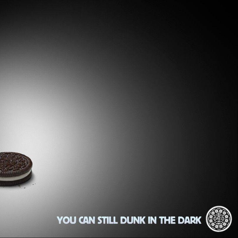 This image provided by Oreo�s shows the image the company�s marketers tweeted some 10 minutes after the power went out during the Super Bowl XLVII football game Sunday. As of Monday afternoon, the image had been re-tweeted more than 15,000 times.