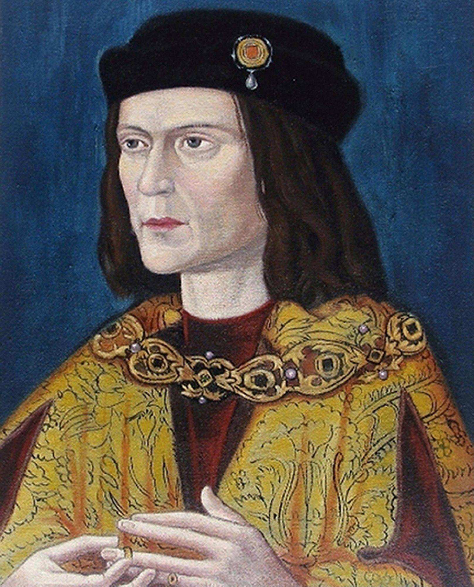 This photo made available by the University of Leicester, England, Monday of the earliest surviving portrait of Richard III in Leicester Cathedral. Richard was immortalized in a play by Shakespeare as a hunchbacked usurper who left a trail of bodies — including those of his two young nephews, murdered in the Tower of London — on his way to the throne.