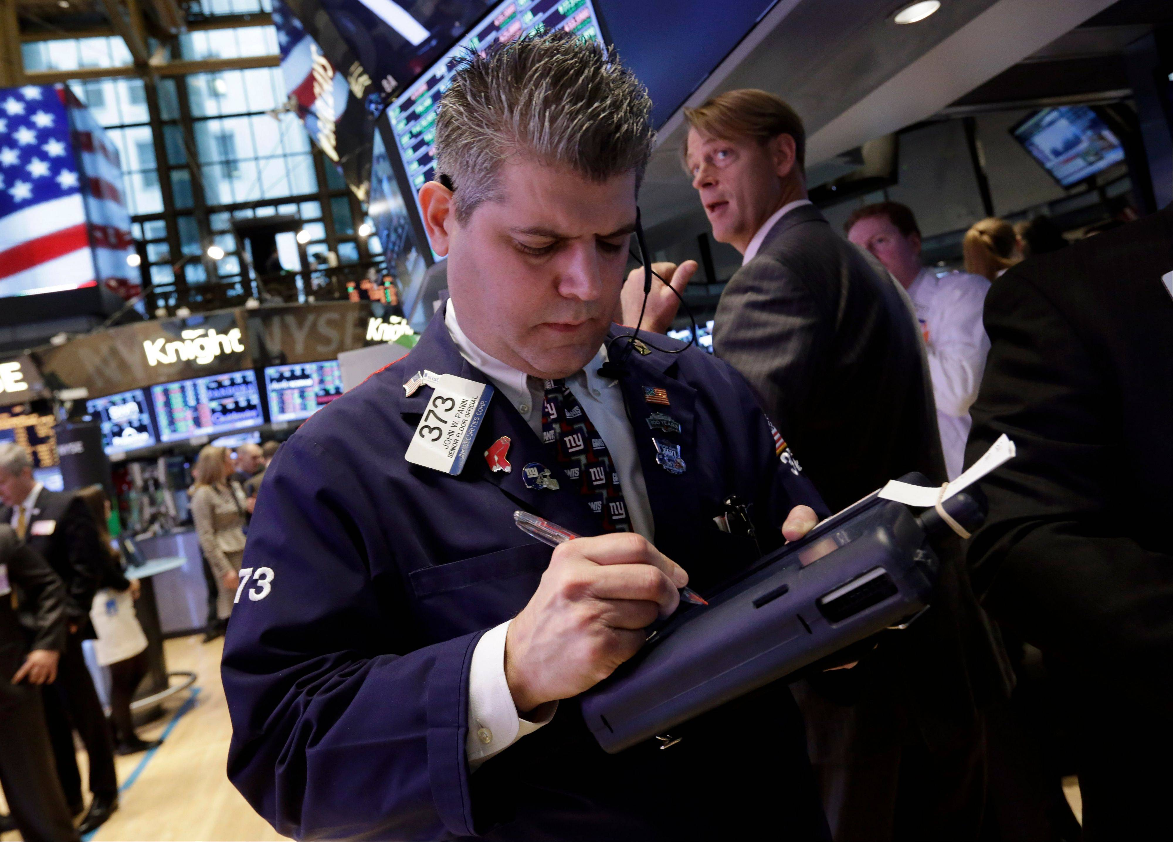 U.S. stocks fell Monday, driving the Standard & Poor's 500 Index to its biggest decline since November, on concern that the European debt crisis may intensify and a smaller-than-forecast increase in American factory orders.