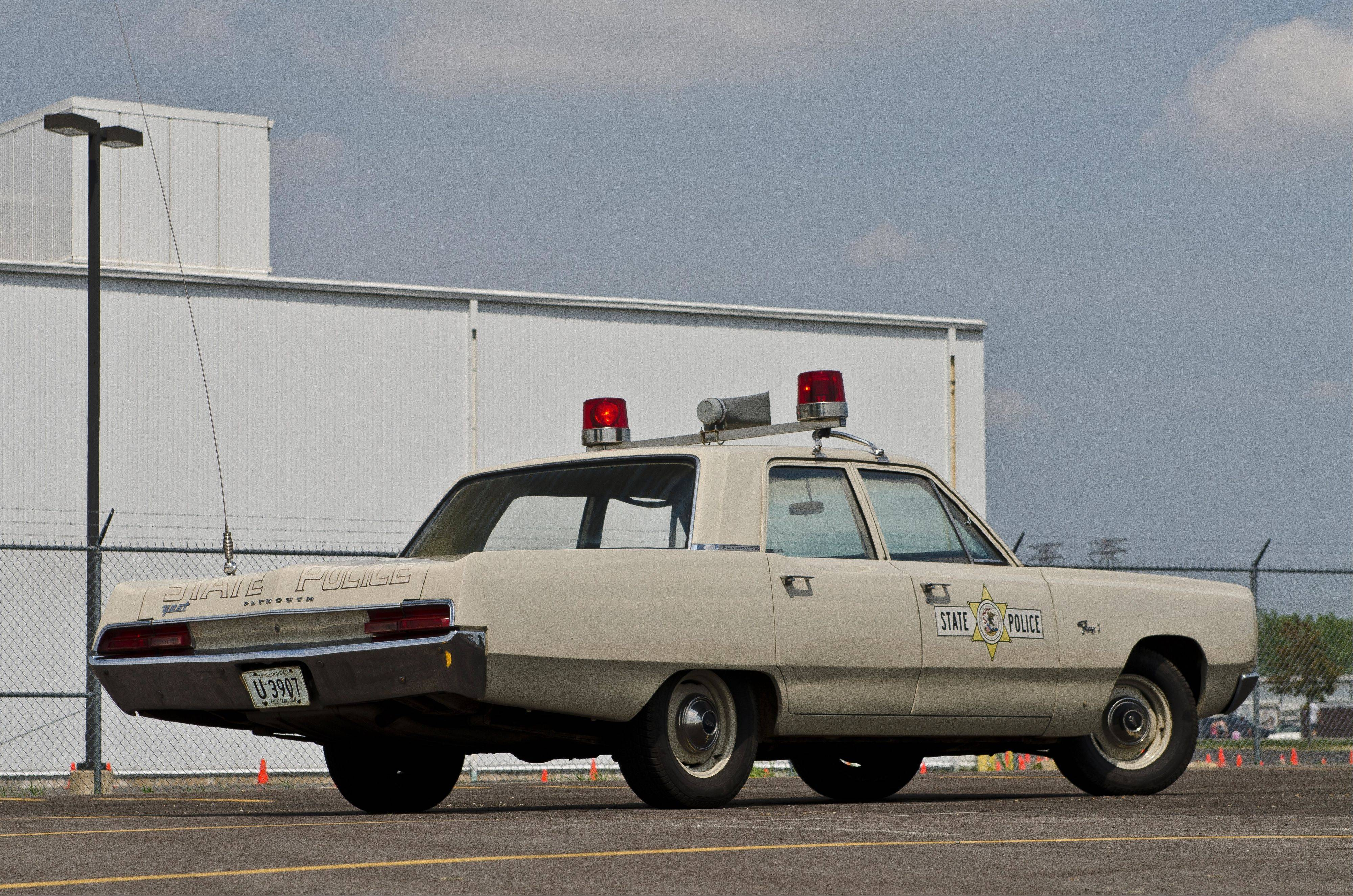 Hahn located vintage equipment, such as a light bar and siren, for his 1967 Illinois State Police tribute squad car.