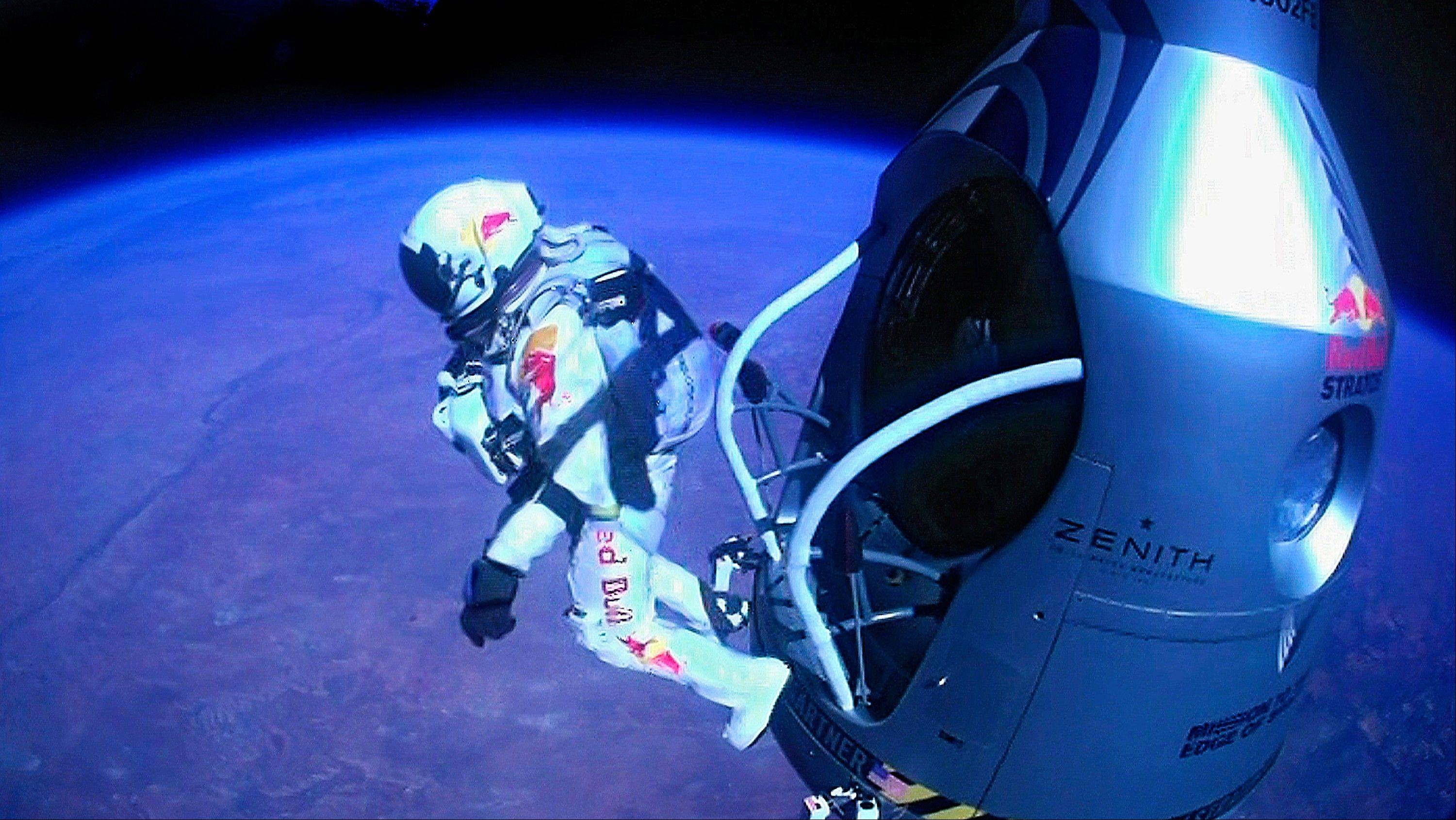 Felix Baumgartner jumps out of the capsule Oct. 14. He reached 843.6 mph. That's equivalent to Mach 1.25, or 1.25 times the speed of sound. His top speed initially was estimated last October at 834 mph, or Mach 1.24.