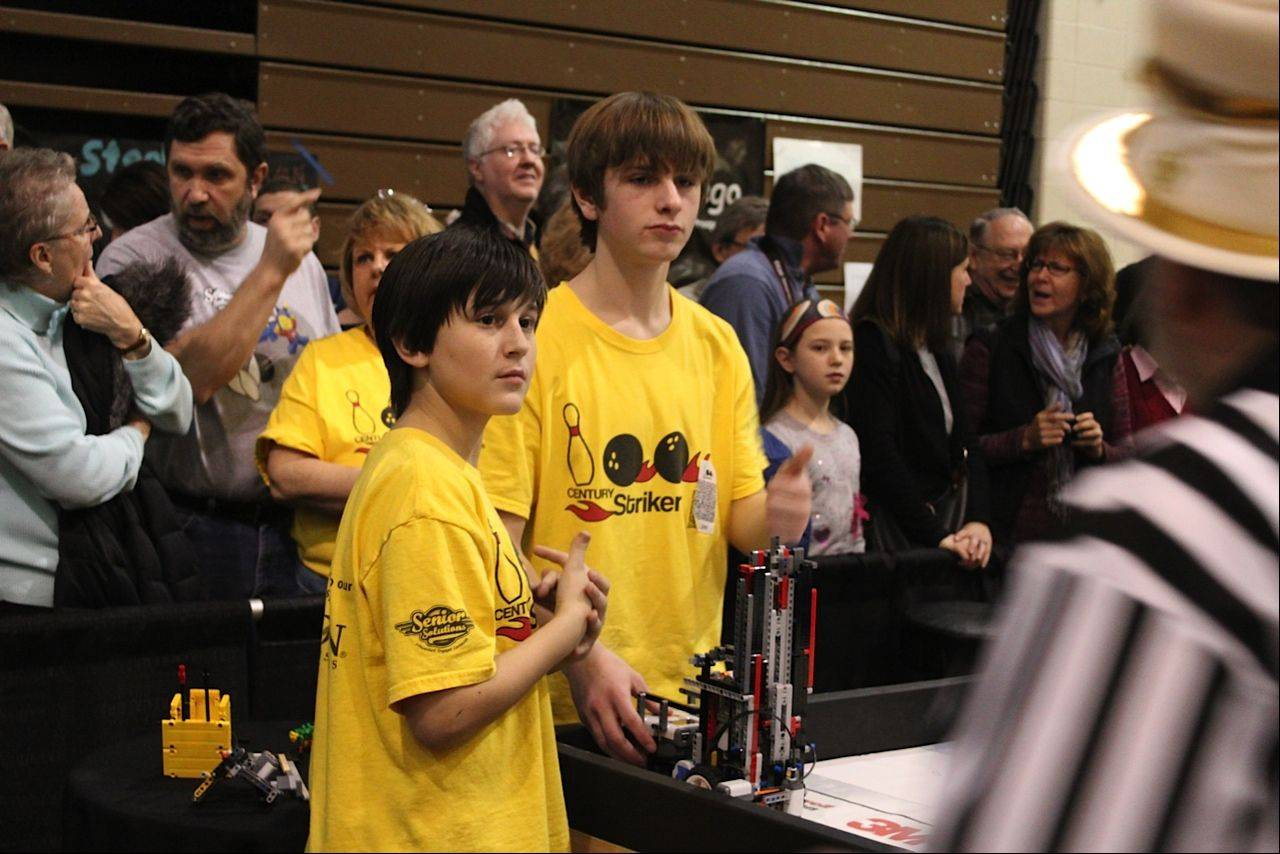 Matt Guzzarde and Jasper Pasternak were part of the Century Strikers team that took first place at the First Lego League state tournament last month at Forest View Educational Center in Arlington Heights. The students are from Lincoln Middle School in Mount Prospect.