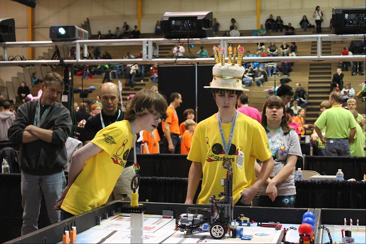Josh Beedy and Jasper Pasternak were part of the Century Strikers team that took first place at the First Lego League state tournament last month at Forest View Educational Center in Arlington Heights. The students are from Lincoln Middle School in Mount Prospect.