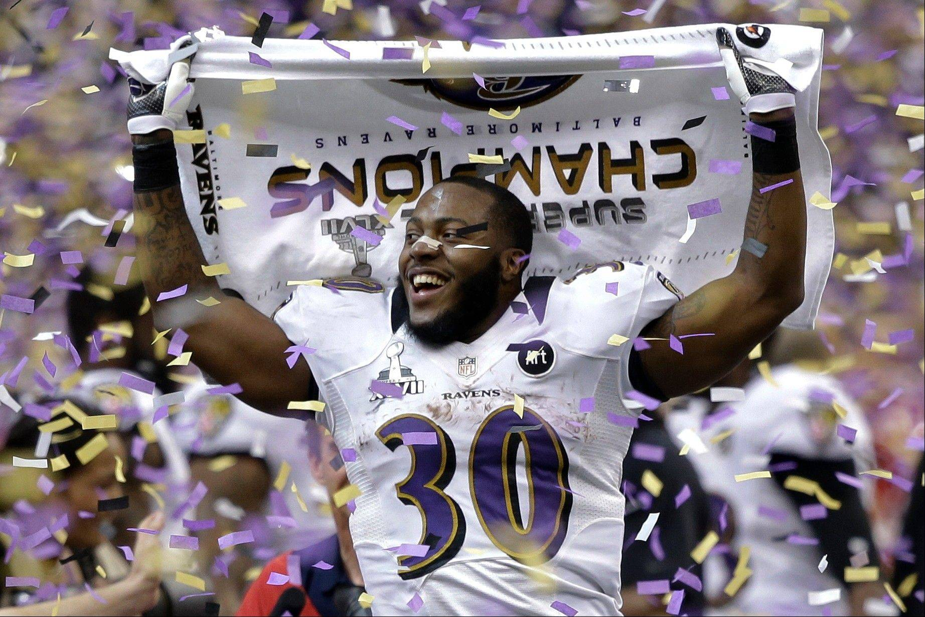 Baltimore Ravens running back Bernard Pierce celebrates after their 34-31 win against the San Francisco 49ers in the NFL Super Bowl XLVII Sunday in New Orleans.
