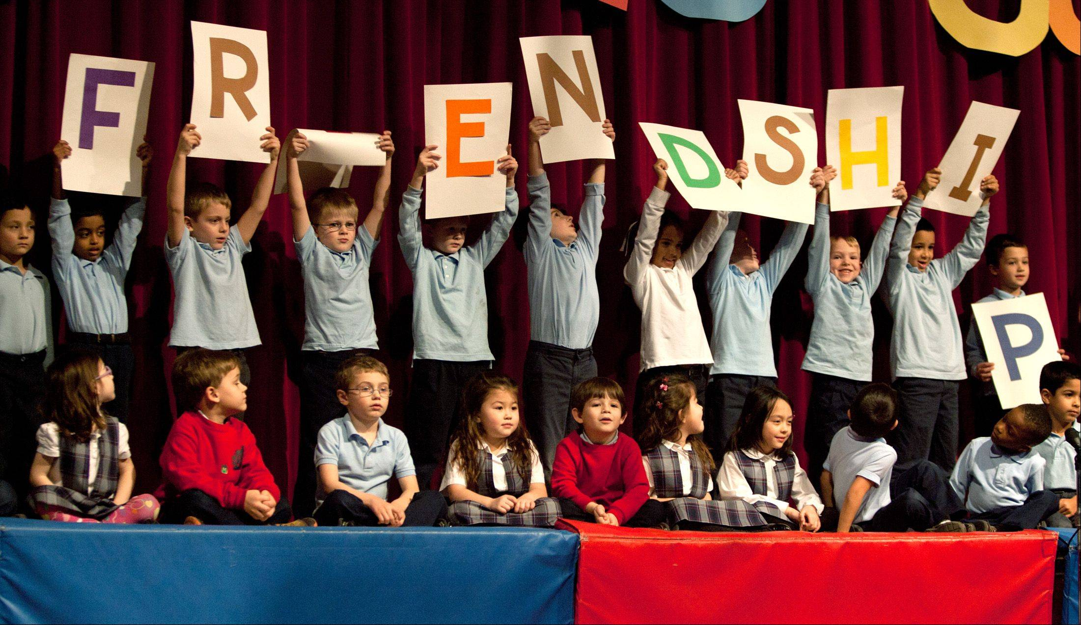 Kindergartners at St. Joan of Arc Elementary School in Lisle perform a play called Choices Count as part of the village's annual character counts program.