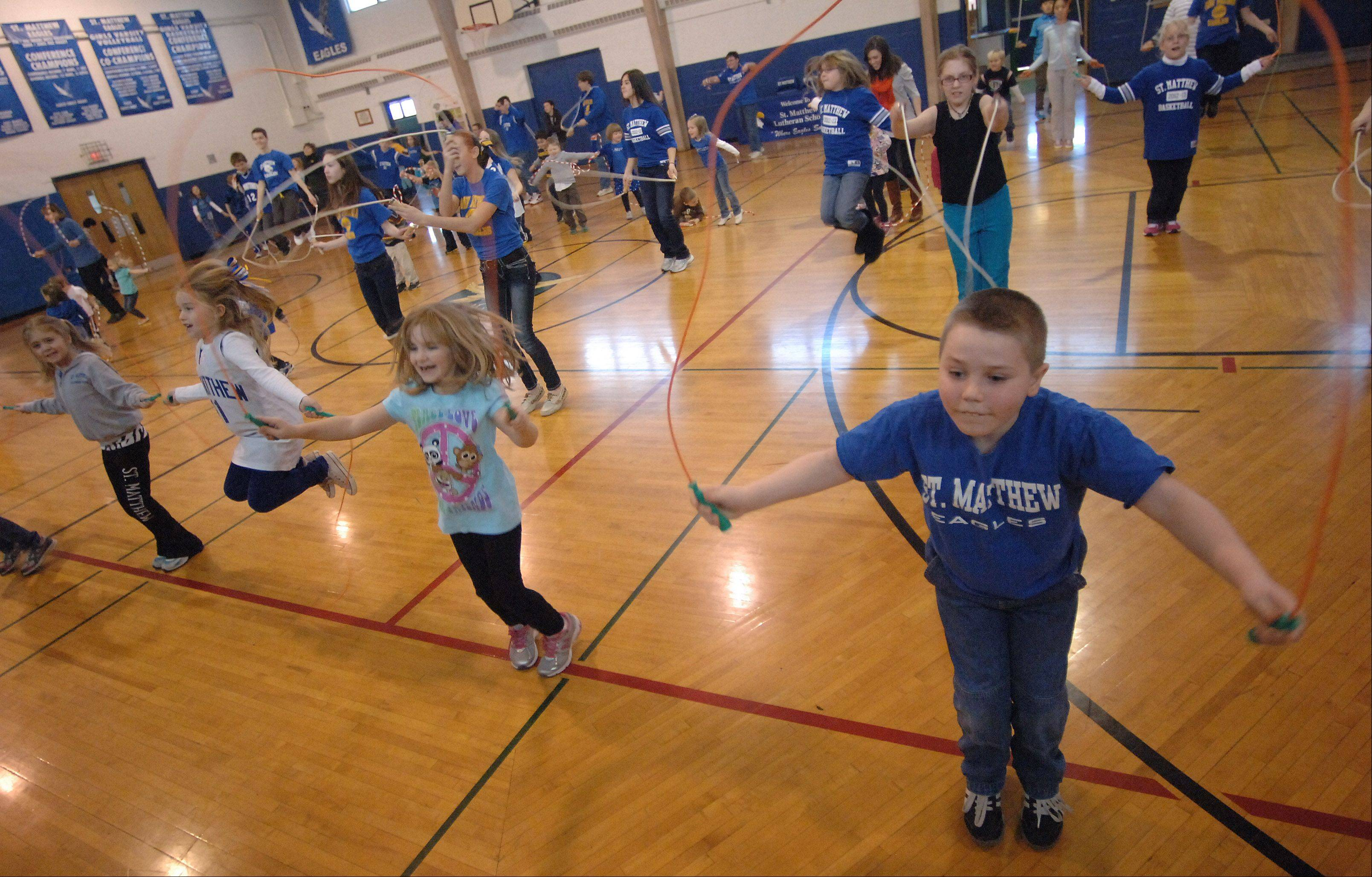 For Lutheran Schools Week, St. Matthew School in Hawthorn Woods held a Jump Rope for Heart fundraiser event. Ninety students in preschool through eighth grade participated in the event to raise money for the American Heart Association.