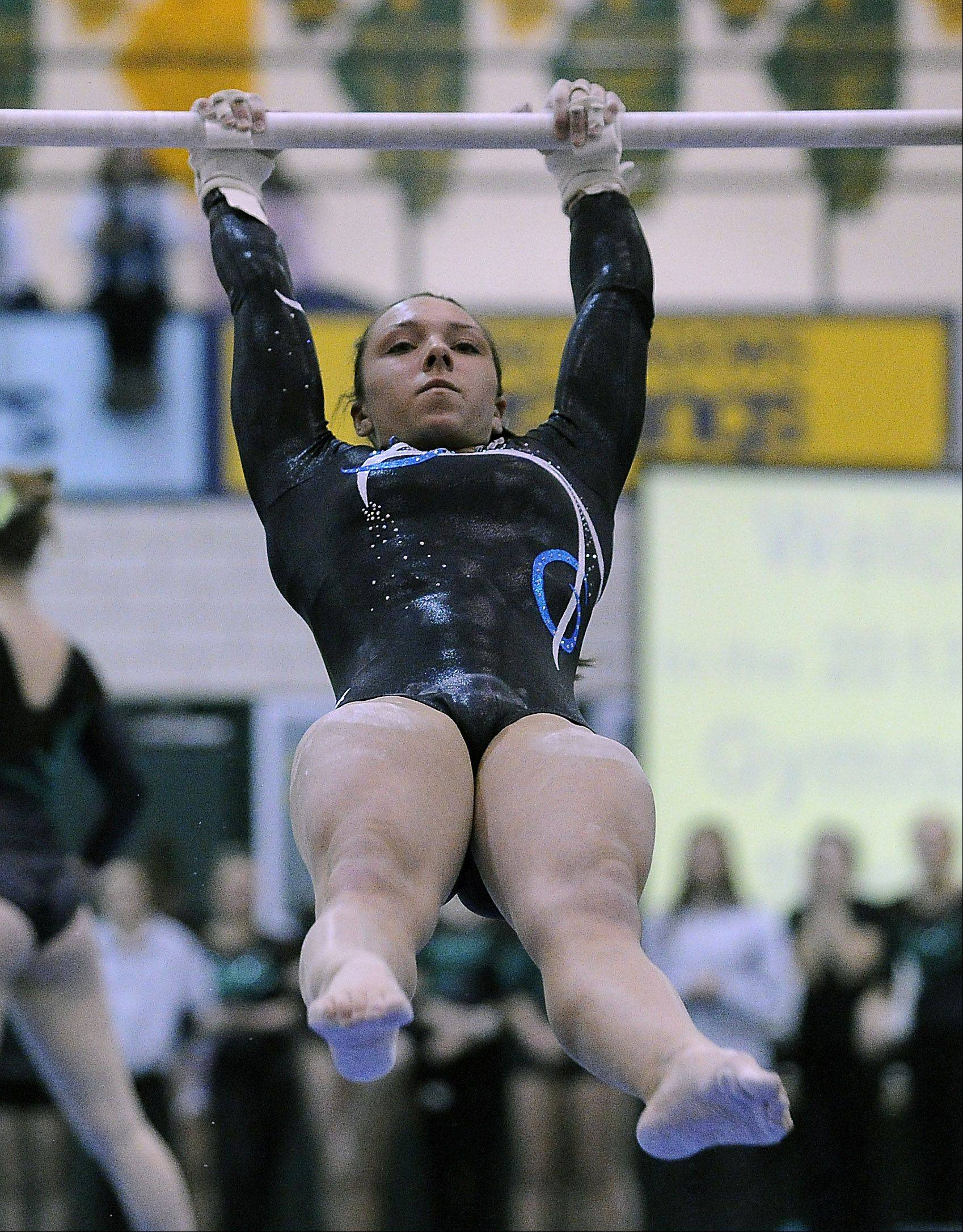 Prospect's Gianna Scala on the uneven parallel bars during sectional action Monday at Fremd.