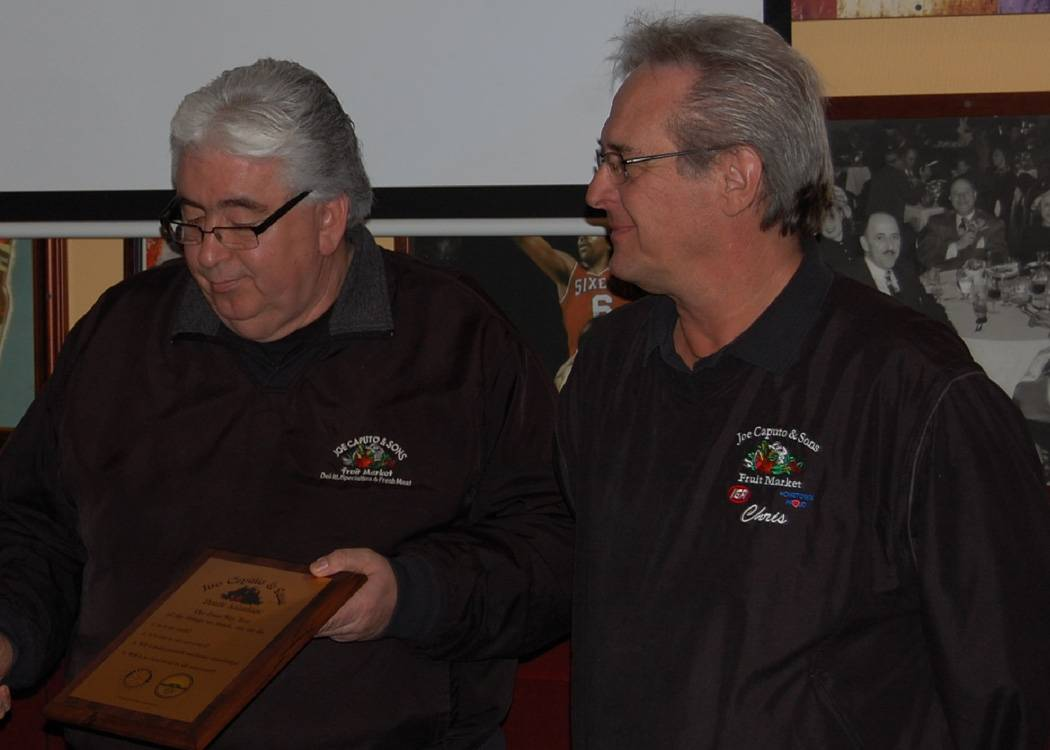 Art Contreras (left), store manager and Chris Sychta (right), meat department manager receive Rotary Service Award, January 30, 2013 at Lake in the Hills' Rotary Club meeting.
