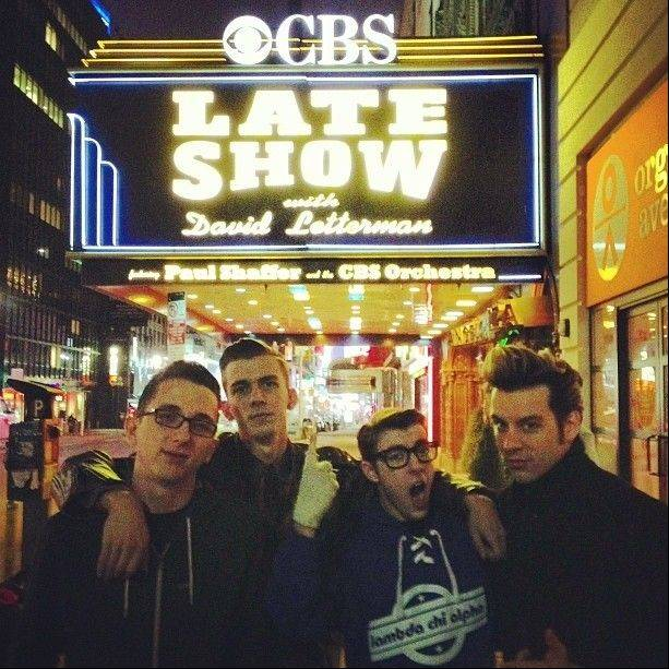 "Members of Lance Lipinsky & The Lovers under the marquee of the Ed Sullivan Theater in New York, home of ""The Late Show with David Letterman."" From left to right are John Perrin of Elgin, Wyatt Maxwell of Utah, Zach Lentino of Schaumburg and Lance Lipinsky, who plays Jerry Lee Lewis in the Chicago production of ""Million Dollar Quartet."""