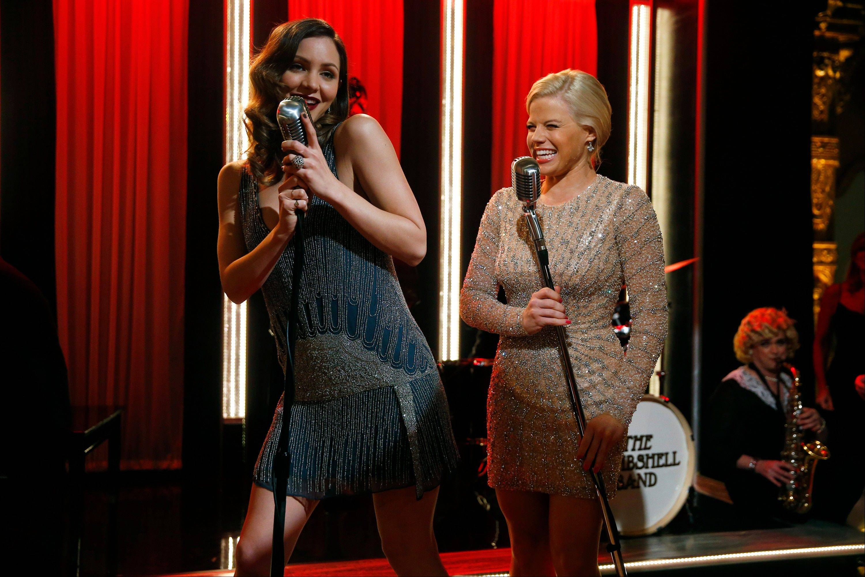 "Katharine McPhee, left, and Megan Hilty join forces for a full-out rendition of the pop standard ""That's Life"" on ""Smash,"" which premieres with a two-hour episode at 8 p.m. Tuesday, Feb. 5, on NBC."