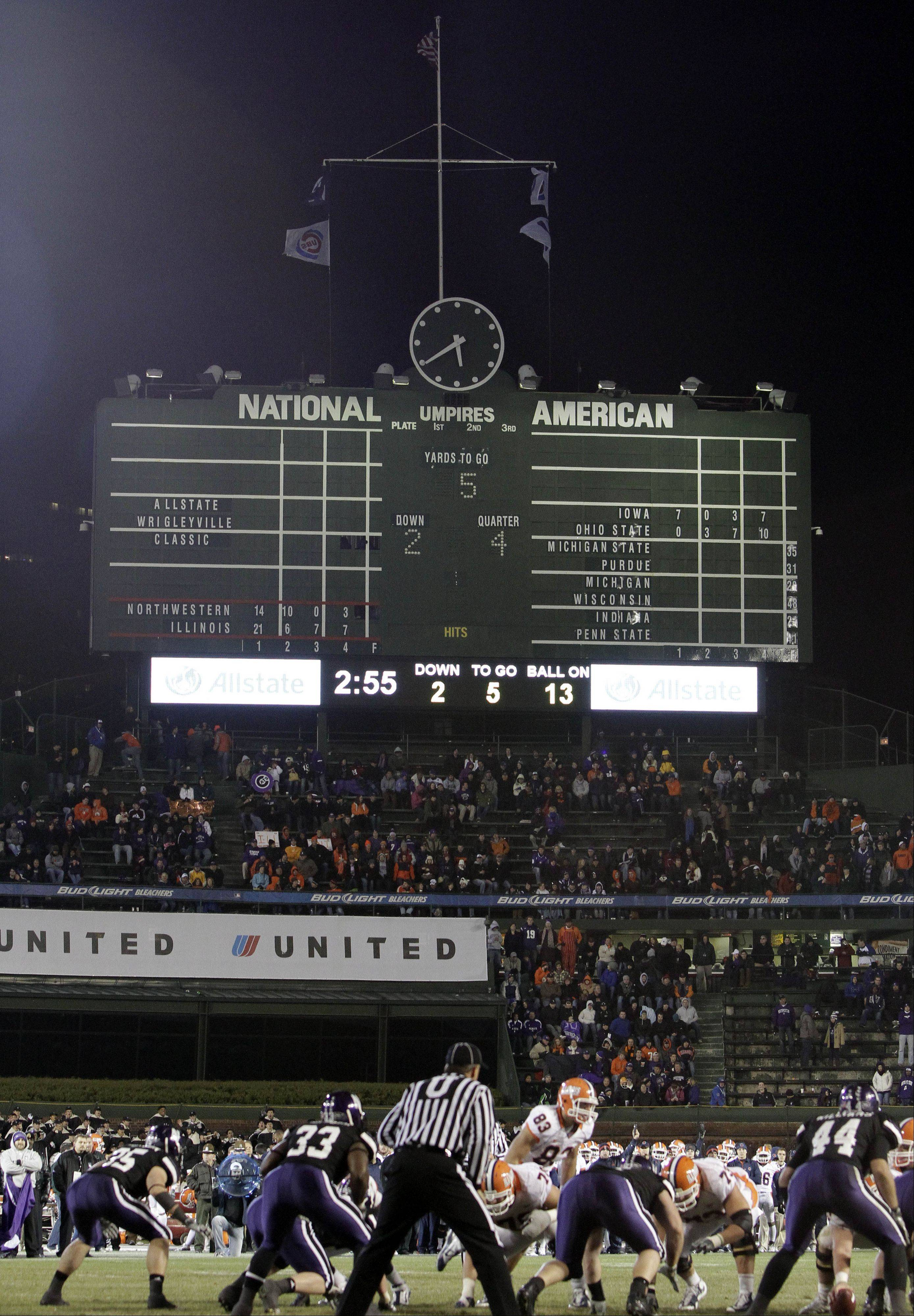 Northwestern hosted Illinois on Nov. 20, 2010 for a Big Ten football game at Wrigley Field. The Wildcats have a deal with the Cubs to play five more games at the historic ballpark, as well as baseball and lacrosse contests.