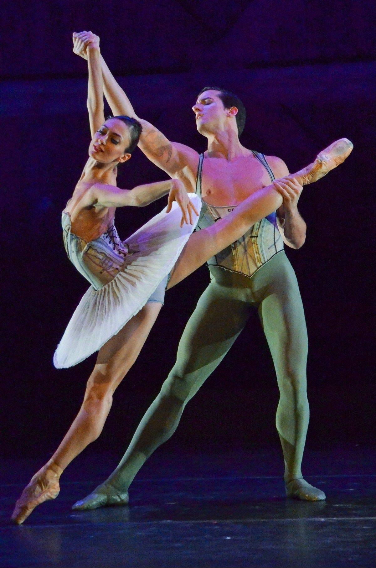 "Victoria Jaiani and Miguel Angel Blanco appear in Stanton Welch's ""Son of Chamber Symphony,"" which is part of the Joffrey Ballet's ""American Legends"" concert at the Auditorium Theatre of Roosevelt University in Chicago."