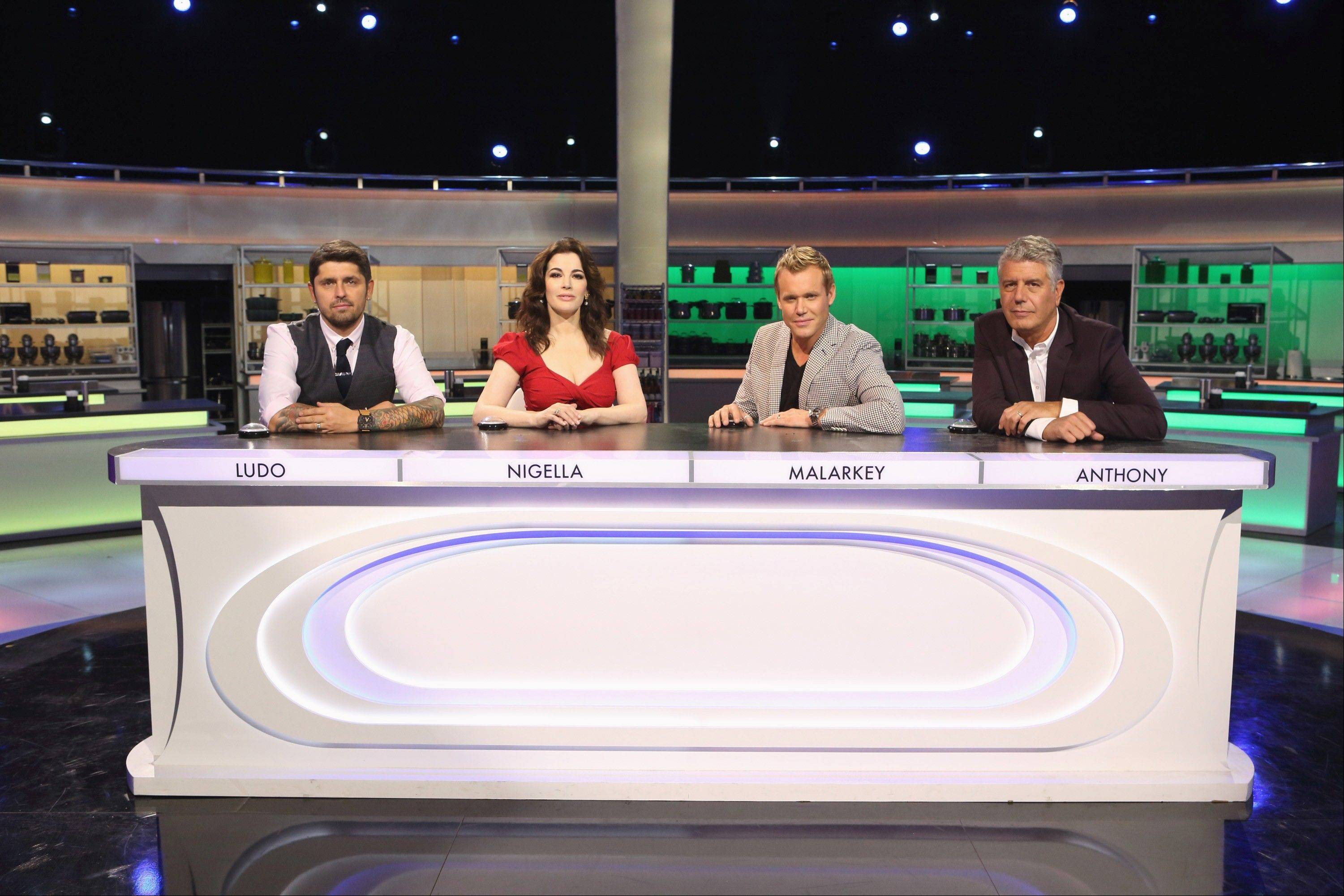 "Ludo Lefebvre, left, Nigella Lawson, Brian Malarkey and Anthony Bourdain act as both mentors and judges for the 16 culinary competitors on ABC's ""The Taste."""