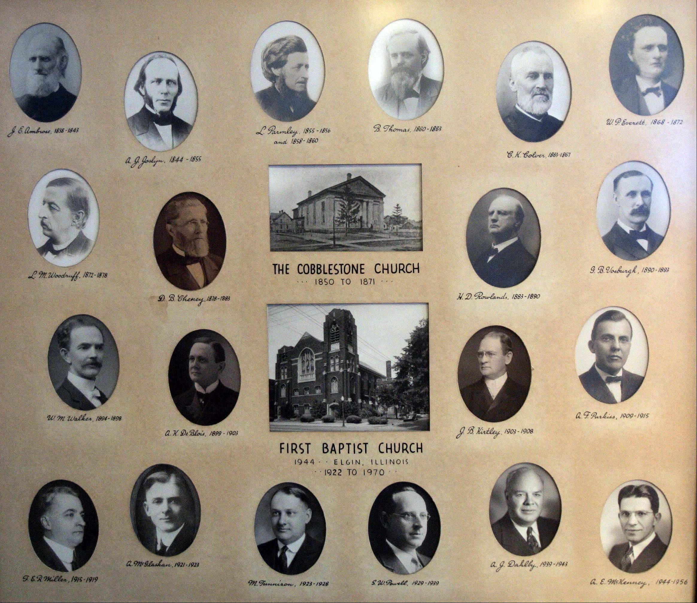 A photo collage with all of the pastors of the First Baptist Church in Elgin hangs on the wall in one of the church's meeting rooms.