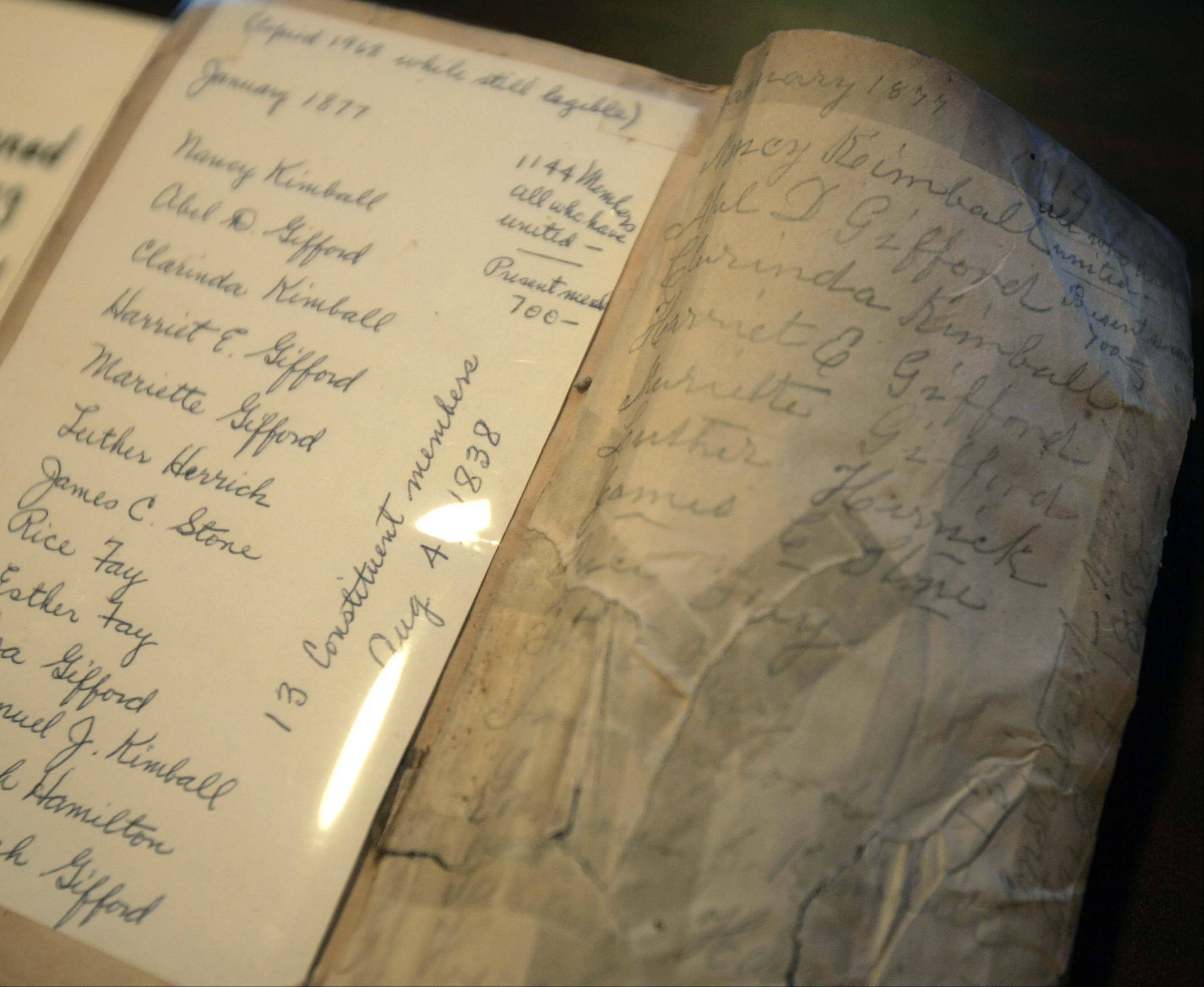 An original Bible with the signatures of the 13 founding members of the First Baptist Church in Elgin. The church was founded July 14, 1838, when 13 men and women got together in Hezekiah Gifford's log cabin. The Giffords were pioneer settlers of Elgin.