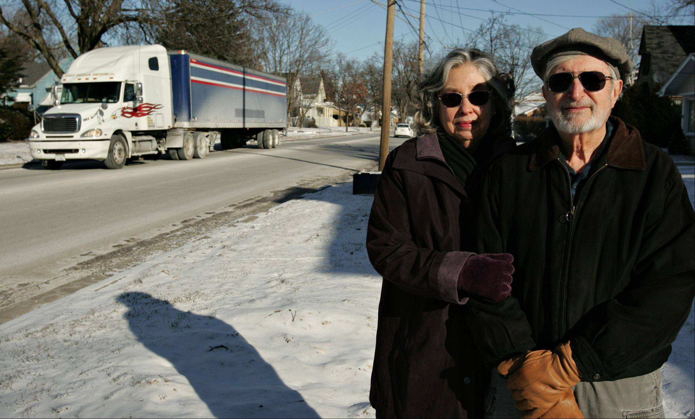 Mary Ellen and Mich Barbezat and other residents of Liberty Street in Elgin hope the Illinois Department of Transportation will agree to reroute trucks off their street, which was originally designed as a residential street.