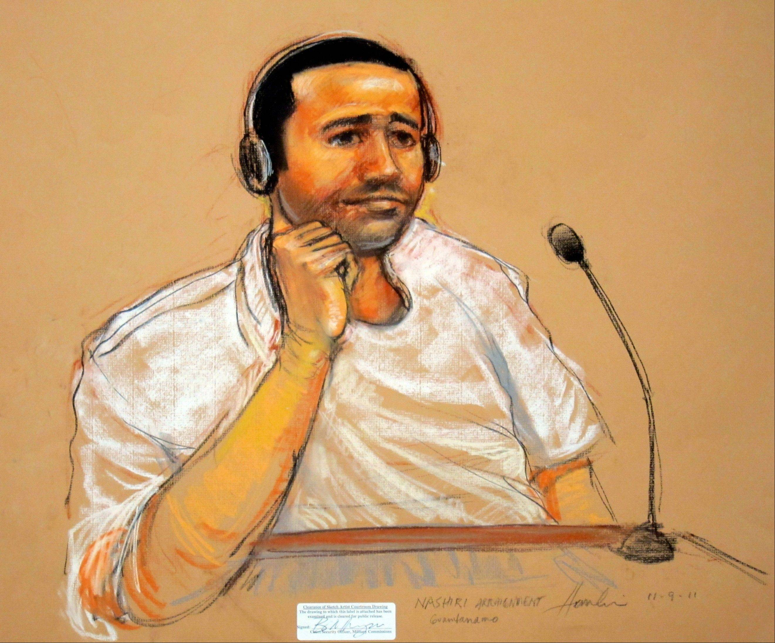 Courtroom sketch of Abd al-Rahim al-Nashiri, who is accused of orchestrating the deadly attack on the USS Cole.