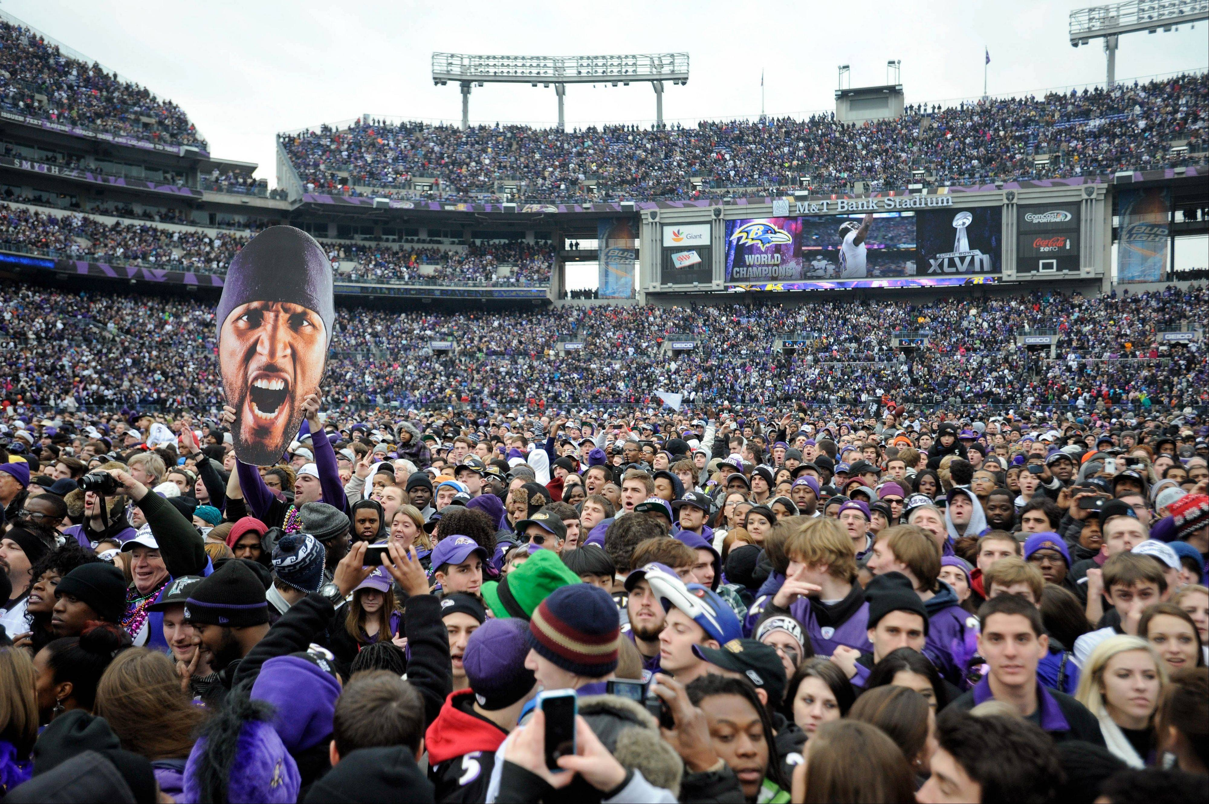 Thousands of Baltimore Ravens NFL football fans fill M&T Bank Stadium celebrate the team's Super Bowl championship during a rally in Baltimore on Tuesday, Feb. 5, 2013. The Ravens defeated the San Francisco 49ers 34-31 in New Orleans on Sunday.