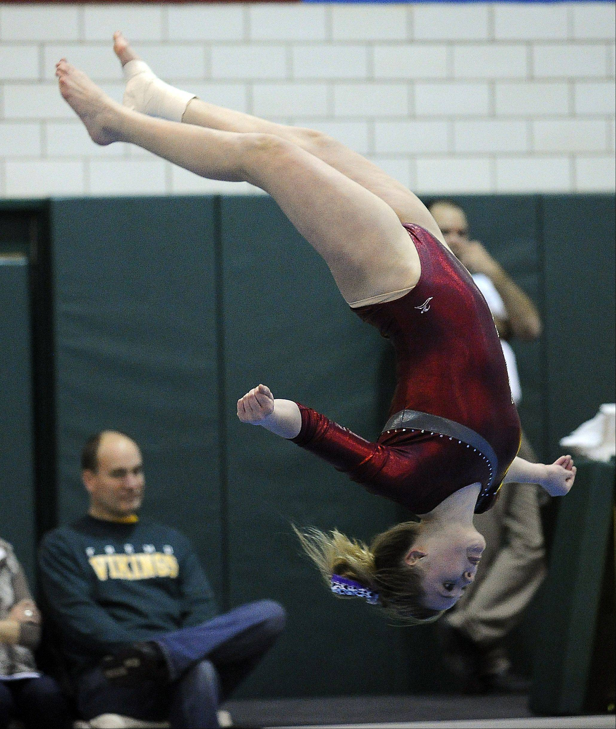 Prairie Ridge's Riley Mahoney during her floor exercise routine during sectional action Monday at Fremd.