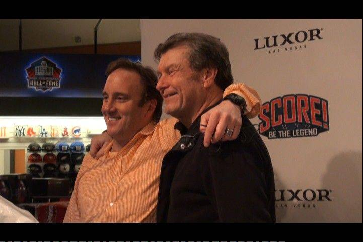 Comedian and sports talk host Jay Mohr, left, did his Fox Sports radio show from the Score LV studios as the Luxor Hotel last weekend in Las Vegas, as did Mike North.