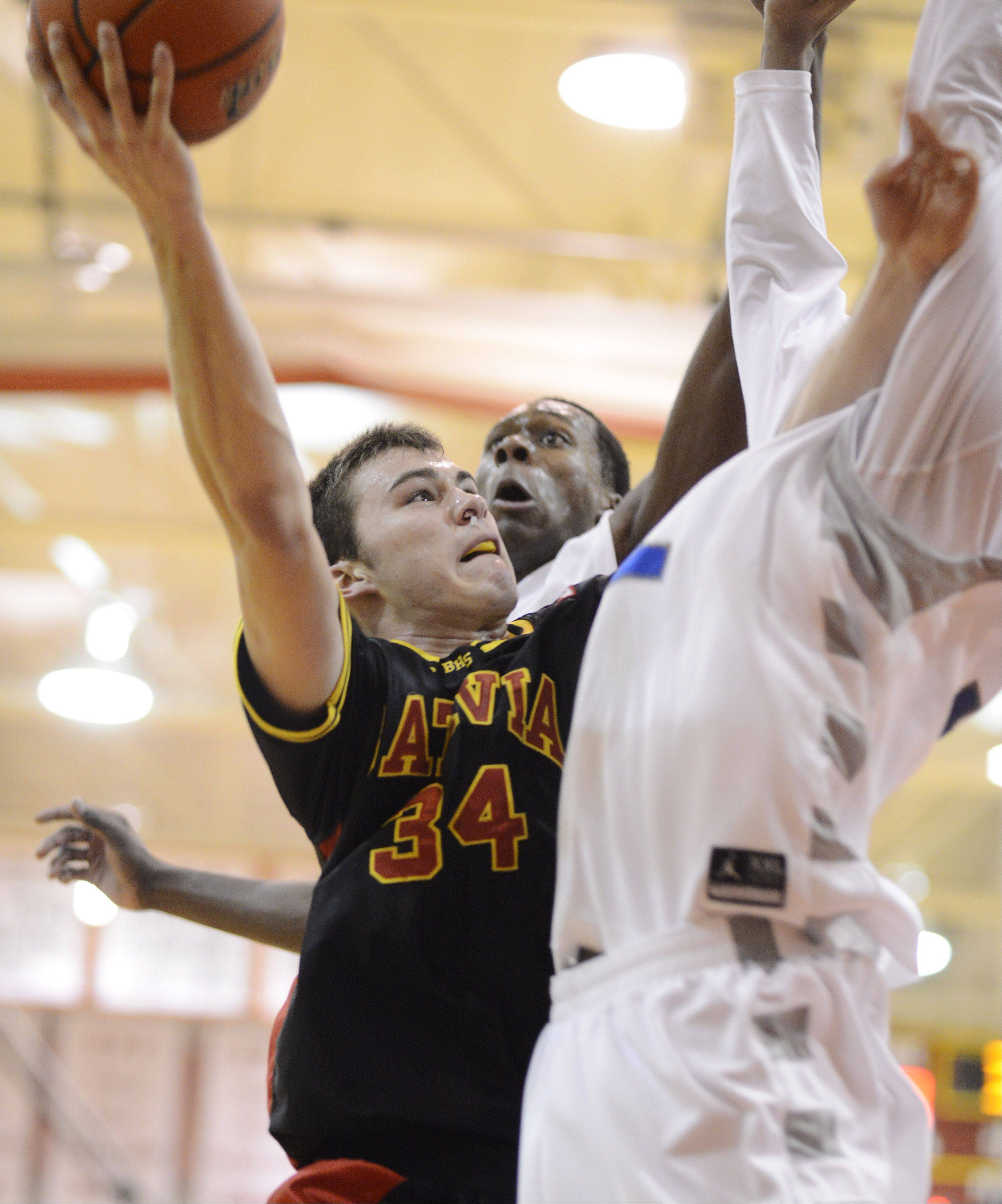 Batavia's Zach Strittmatter takes a shot against De La Salle during the 20th anniversary Night of Hoops at Batavia High School on Saturday.