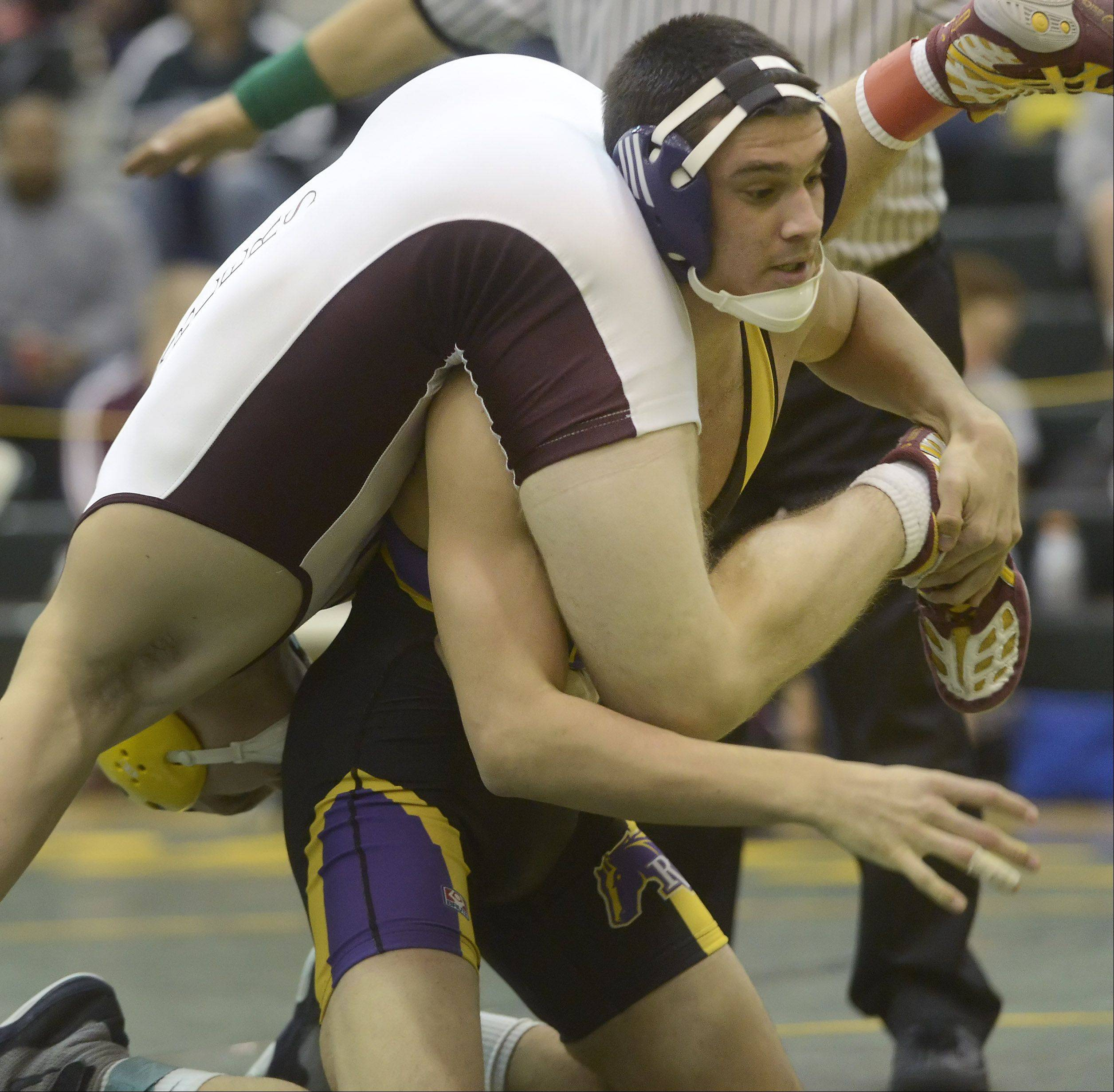 Rolling Meadow's Jack Schultz, right, wrestles toward an 11-3 win over Loyola Academy's Patrick Dancer in the 145-pound, class 3A regional final at Fremd Saturday.
