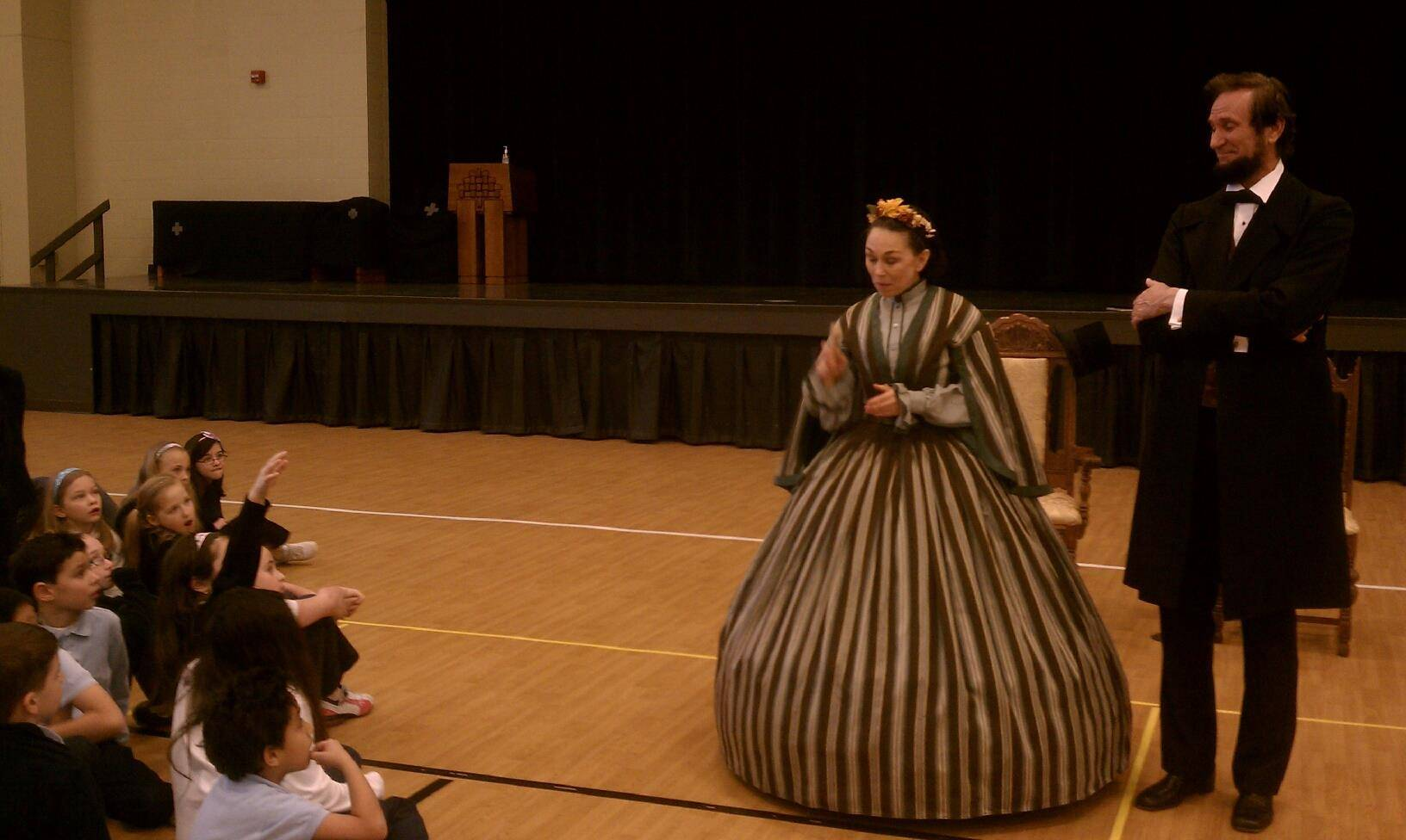 President Abraham and Mrs. Mary Todd Lincoln visit students St. James School.